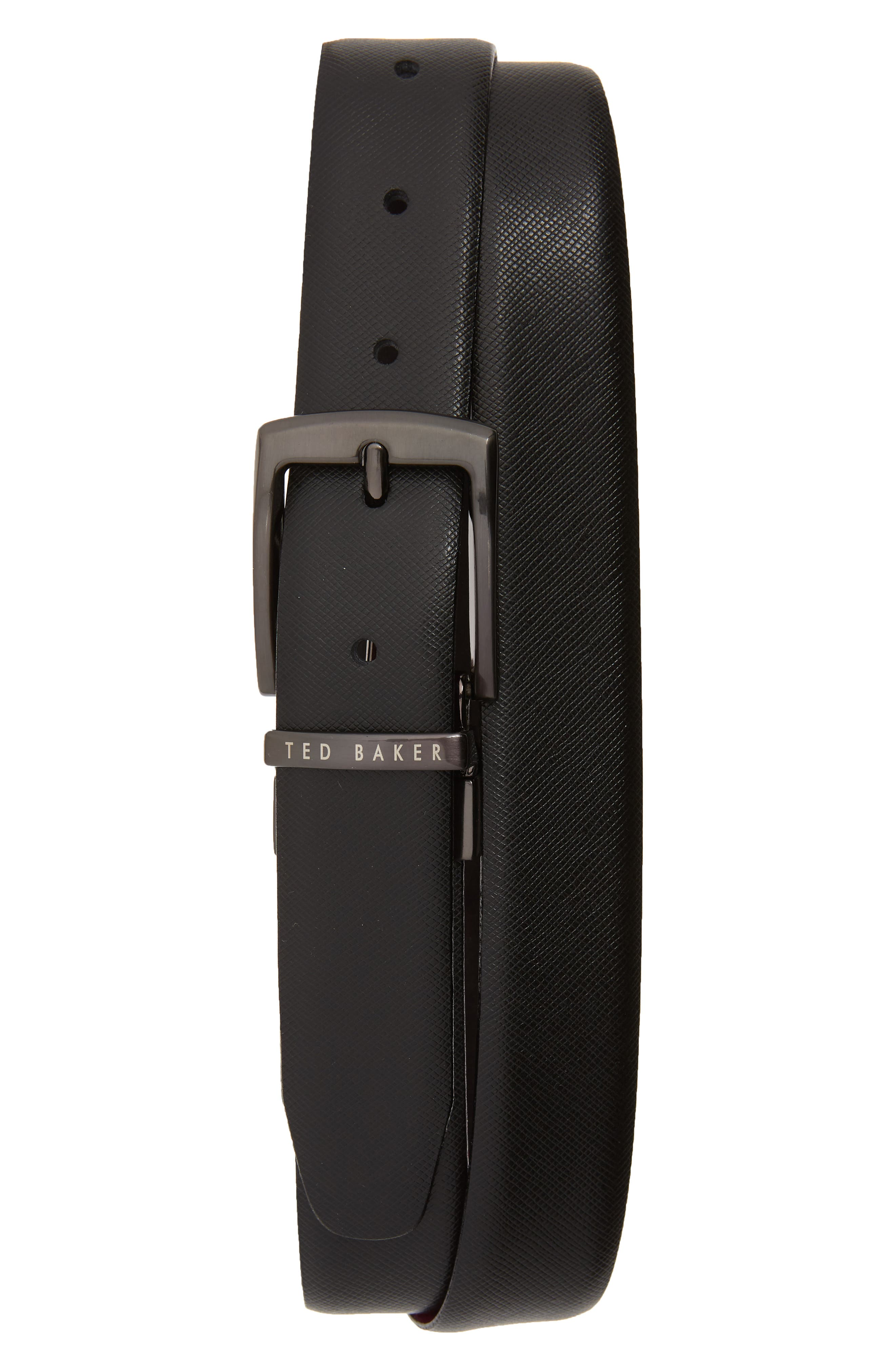 TED BAKER LONDON,                             Reversible Leather Belt,                             Main thumbnail 1, color,                             BLACK