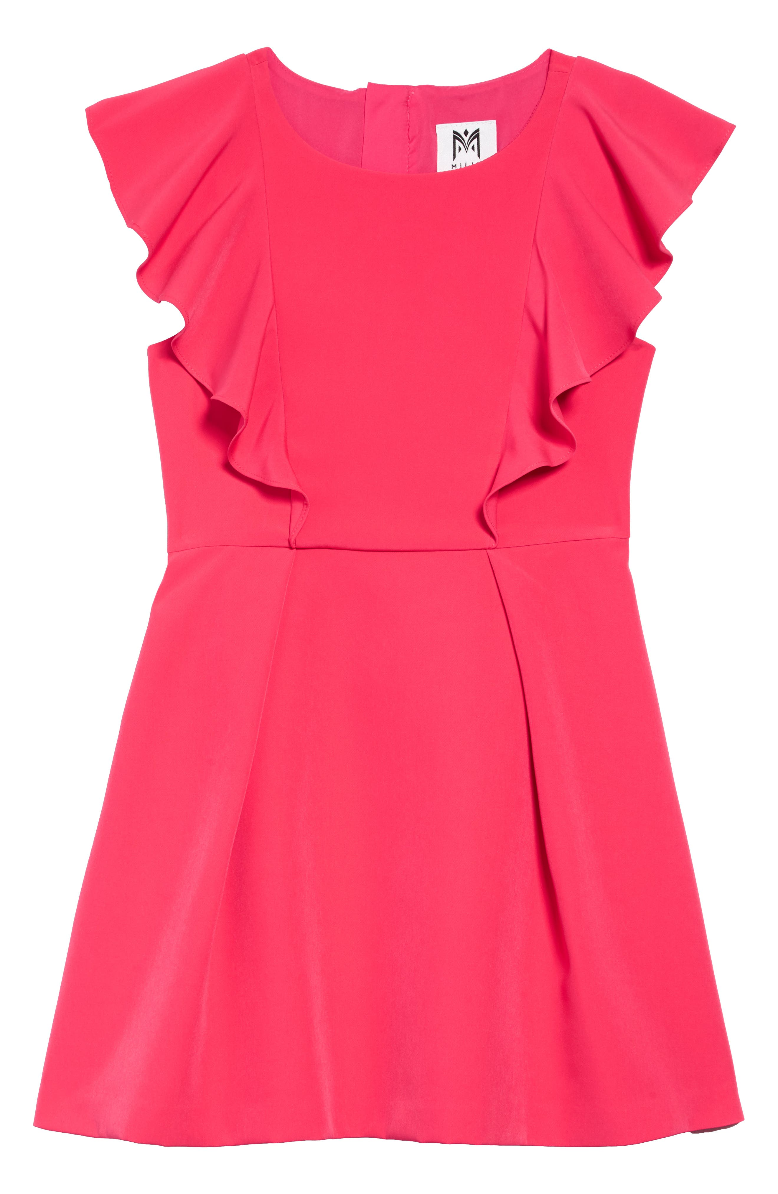 MILLY MINIS,                             Rylie Cady Ruffle Dress,                             Main thumbnail 1, color,                             GUAVA