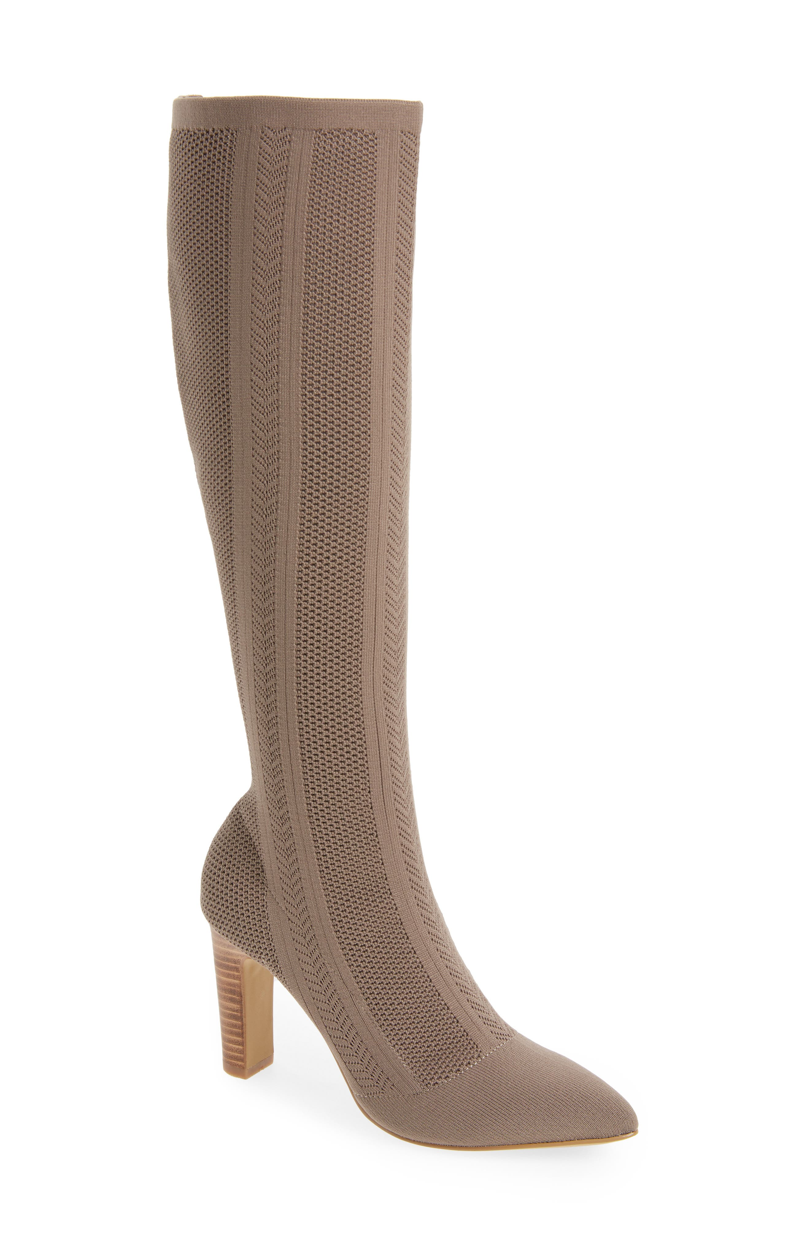 Davis Knit Boot,                         Main,                         color, TAUPE FABRIC