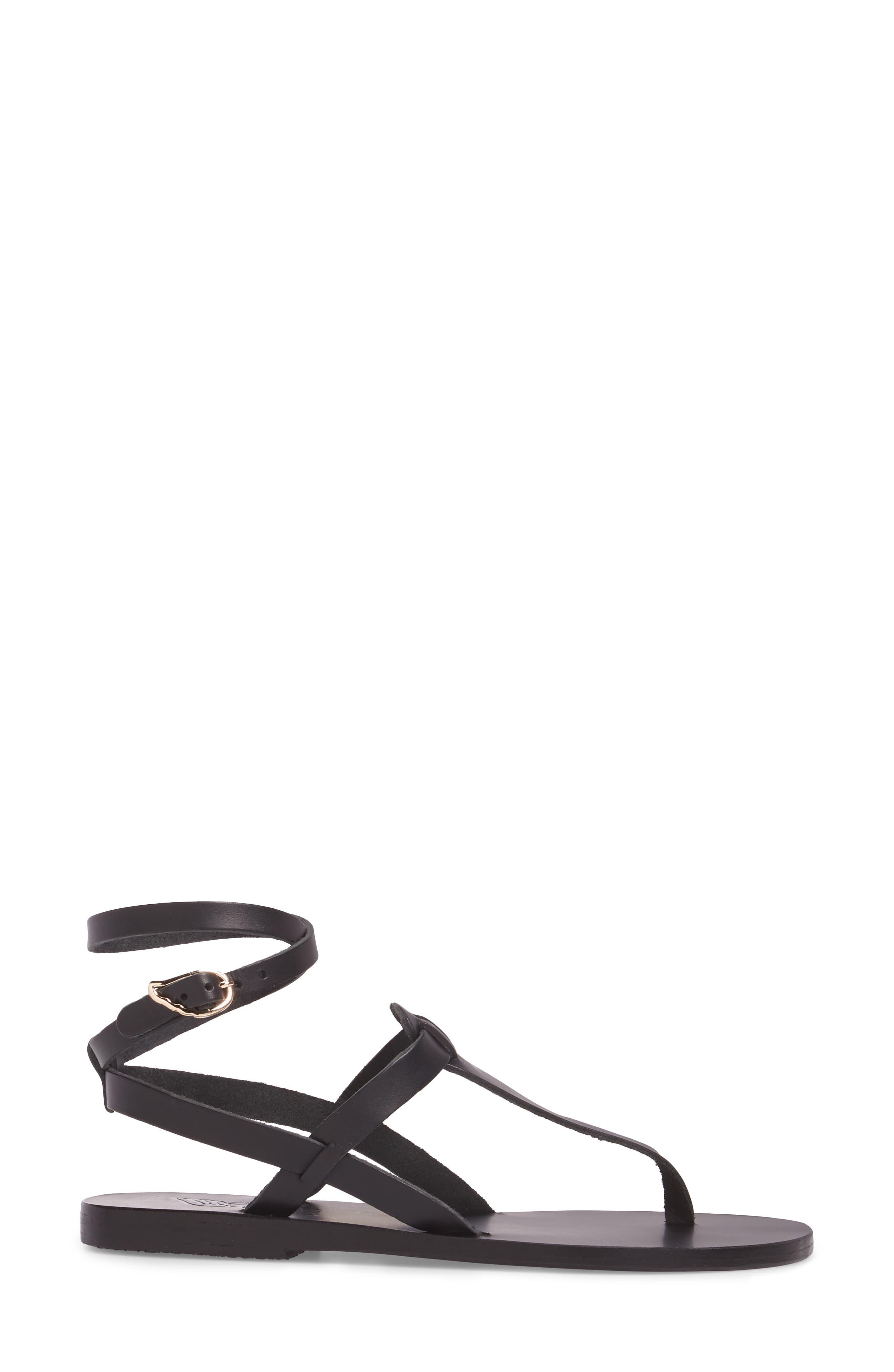 ANCIENT GREEK SANDALS,                             Estia Ankle Wrap Sandal,                             Alternate thumbnail 3, color,                             001