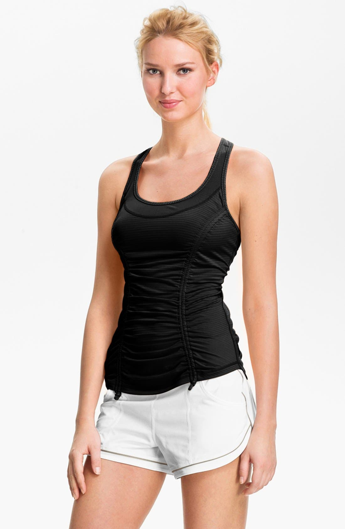 'She Girl' Ruched Racerback Tank, Main, color, 001
