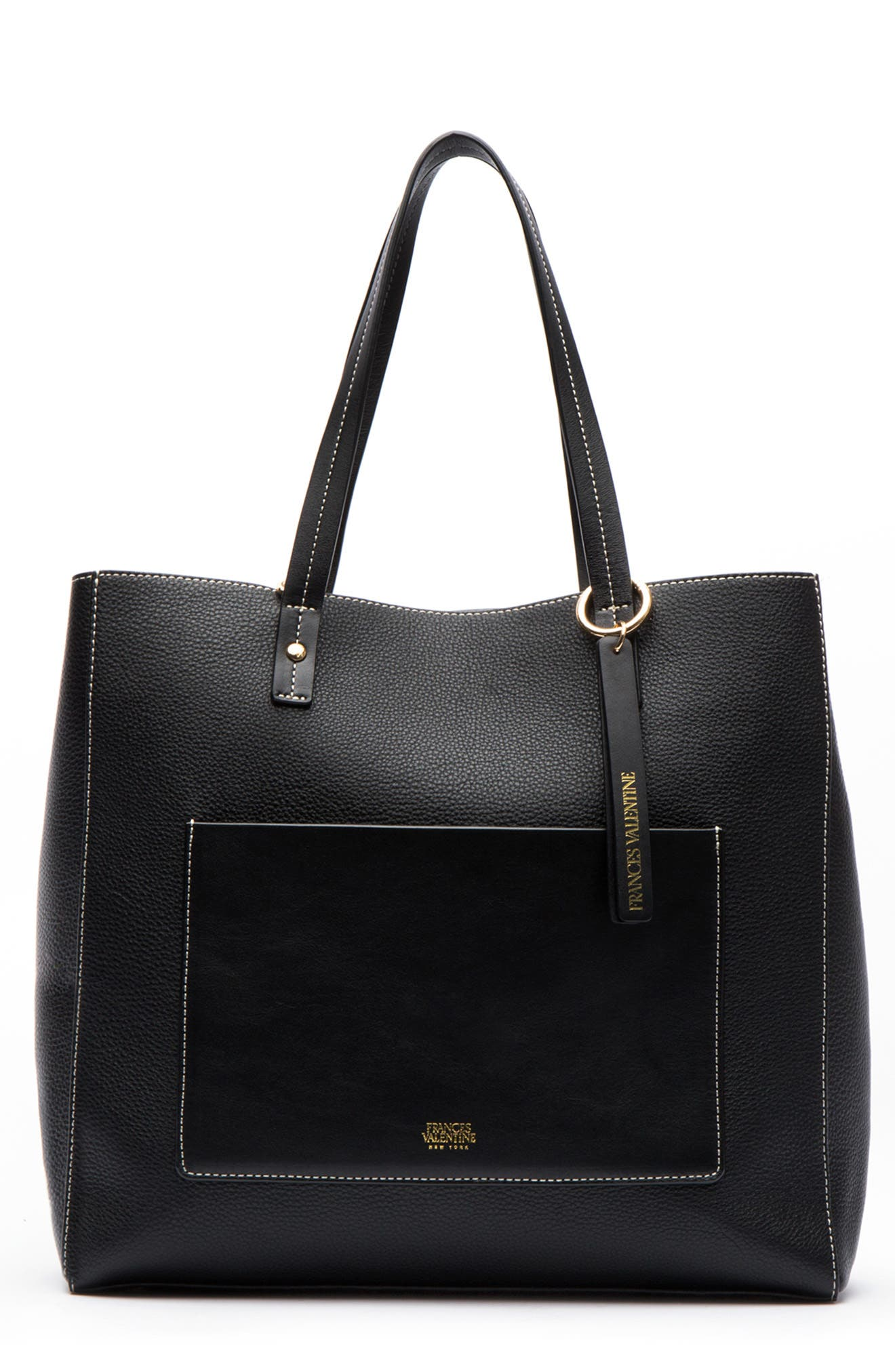 Large Chloe Leather Tote,                         Main,                         color, BLACK