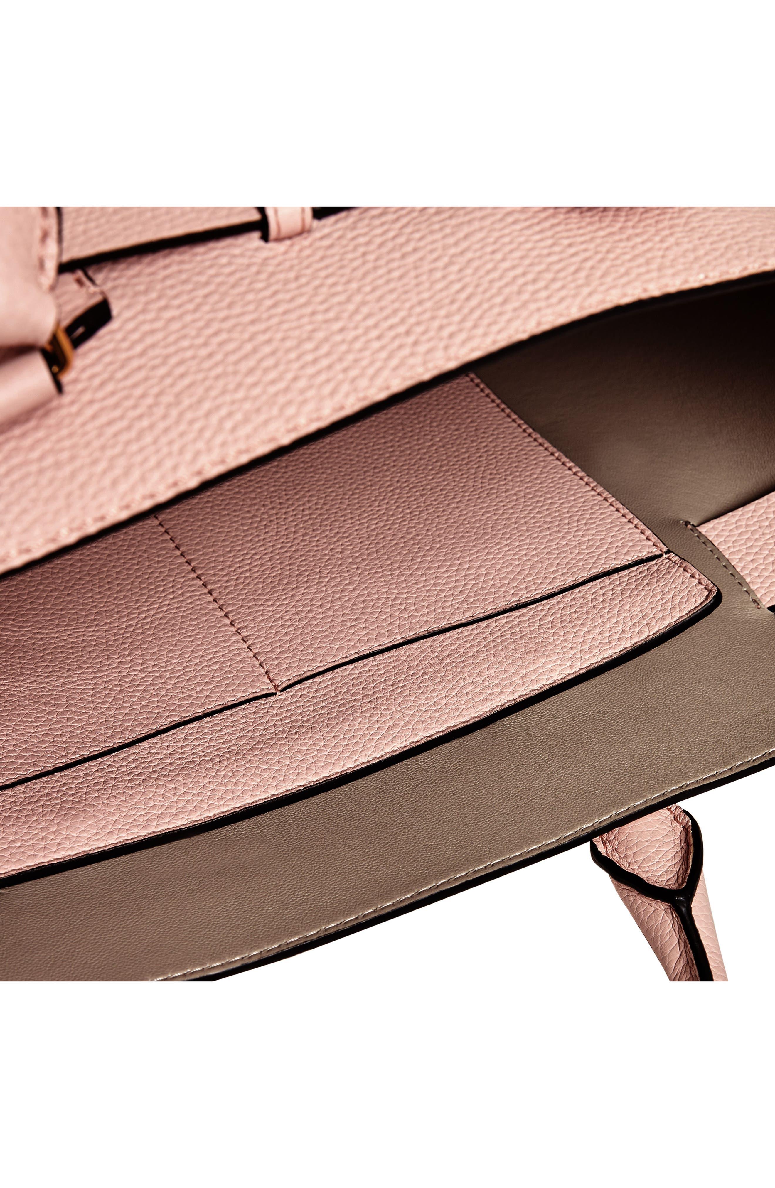 Medium Belt Bag Leather Tote,                             Alternate thumbnail 5, color,                             PALE ASH ROSE