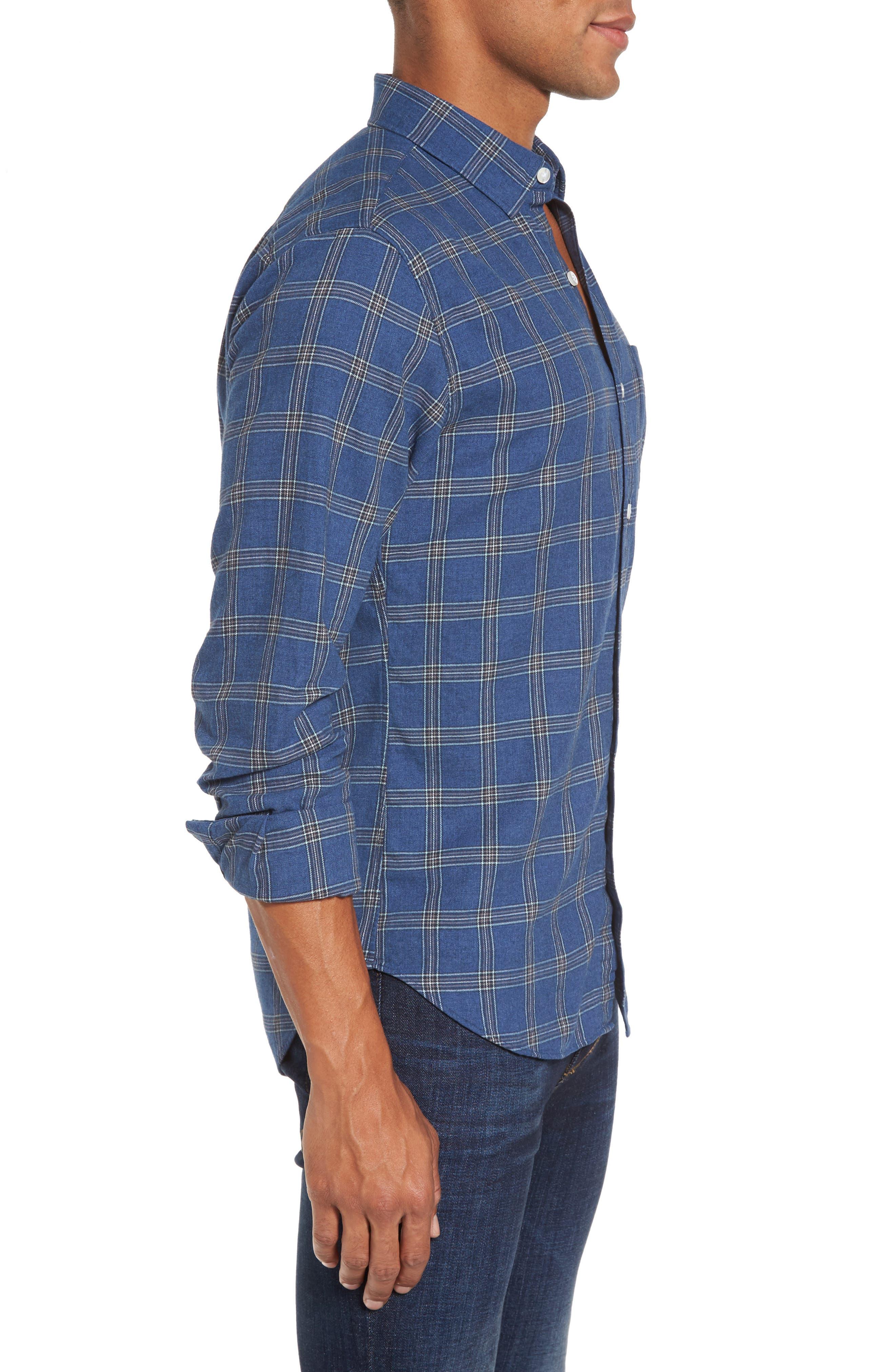 Slim Fit Plaid Twill Sport Shirt,                             Alternate thumbnail 3, color,