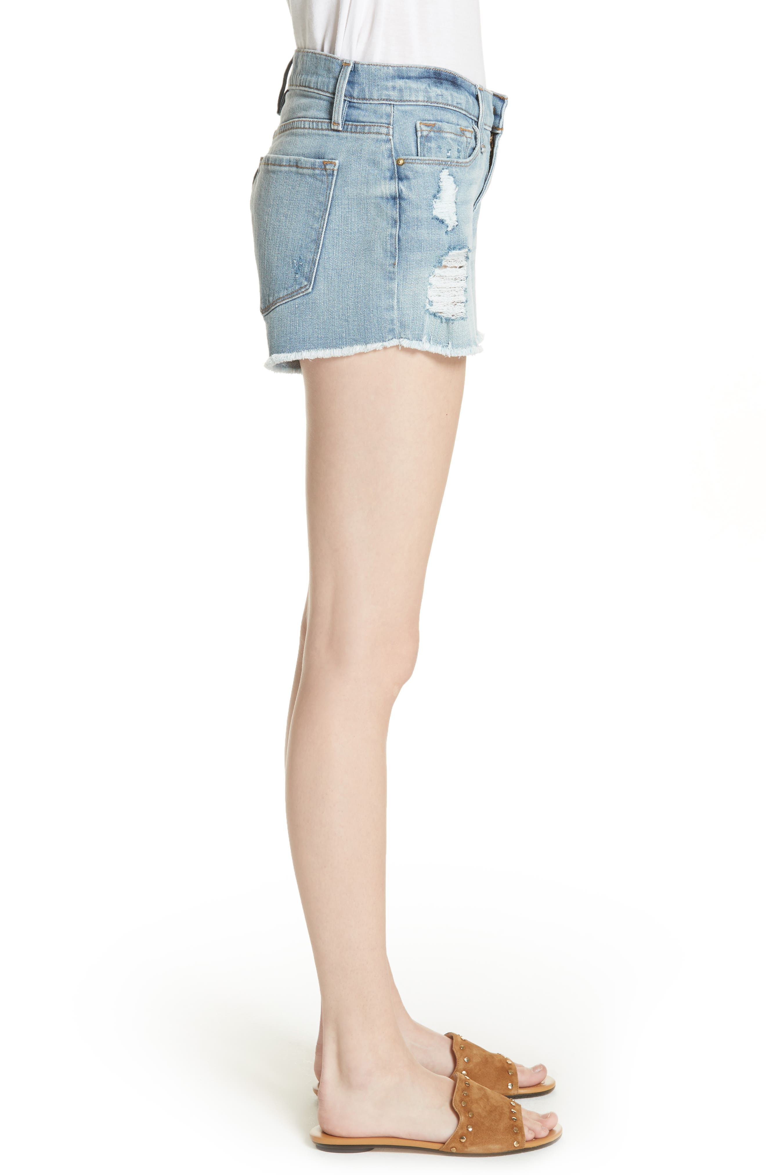 Le Cutoff Denim Shorts,                             Alternate thumbnail 3, color,                             TAFFORD