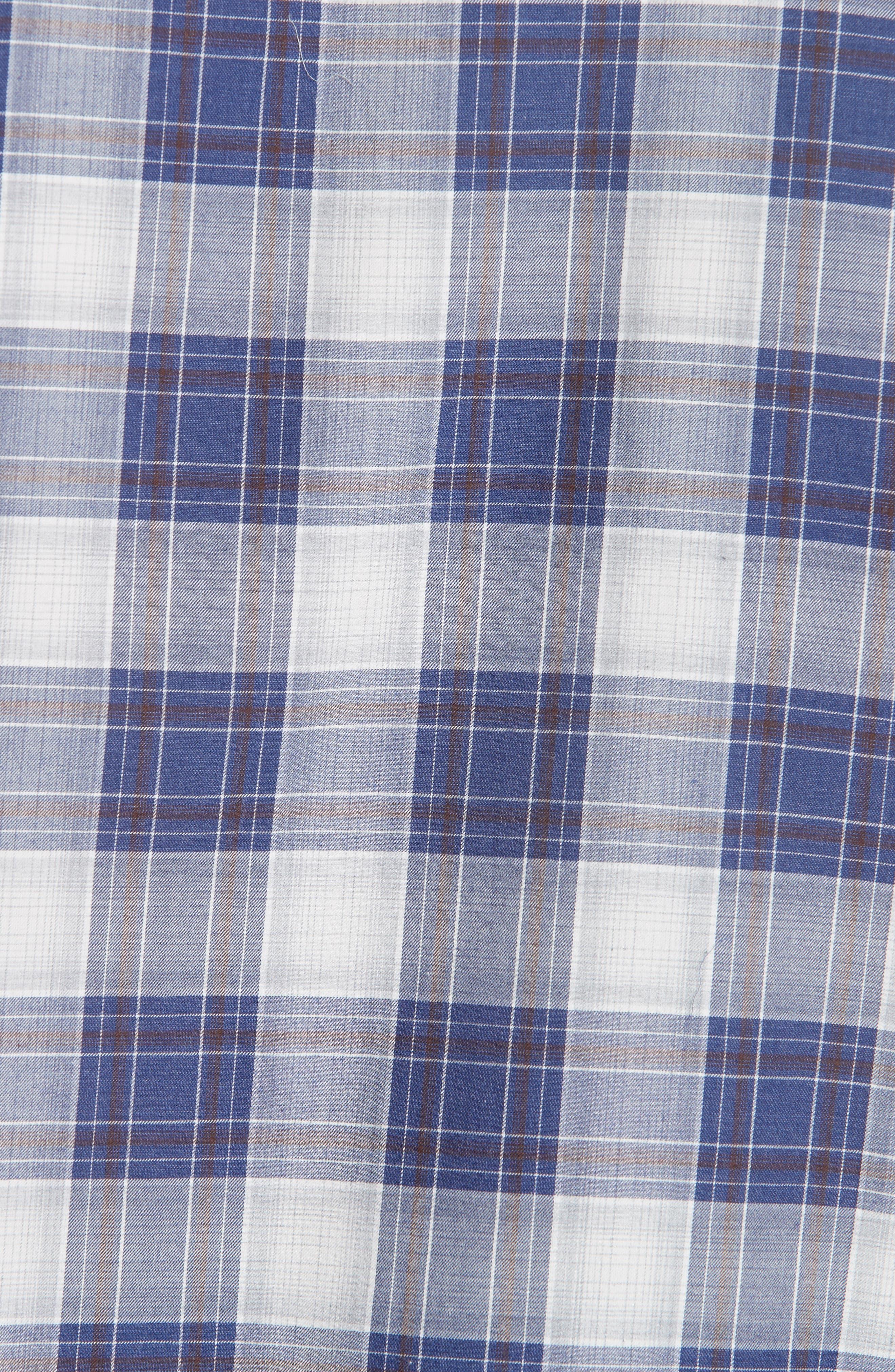 Classic Fit Plaid Sport Shirt,                             Alternate thumbnail 5, color,                             BLUE