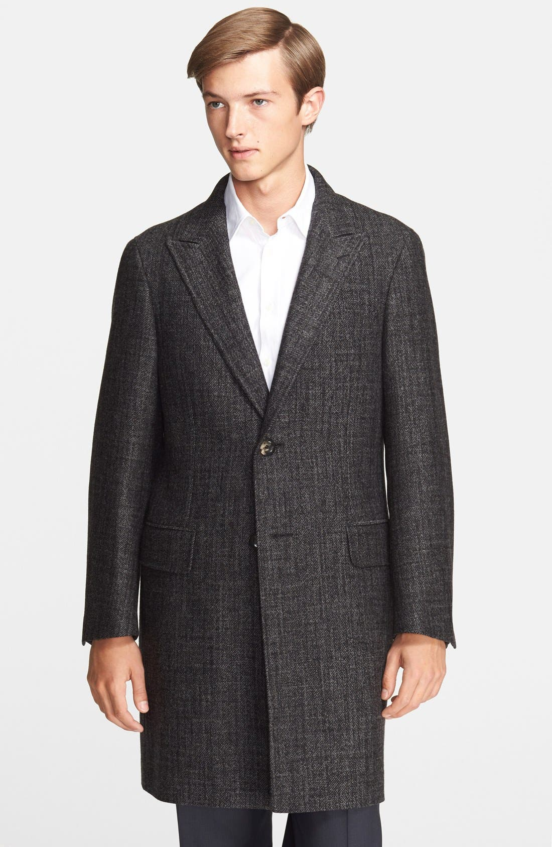 CANALI,                             Plaid Wool Overcoat,                             Main thumbnail 1, color,                             011