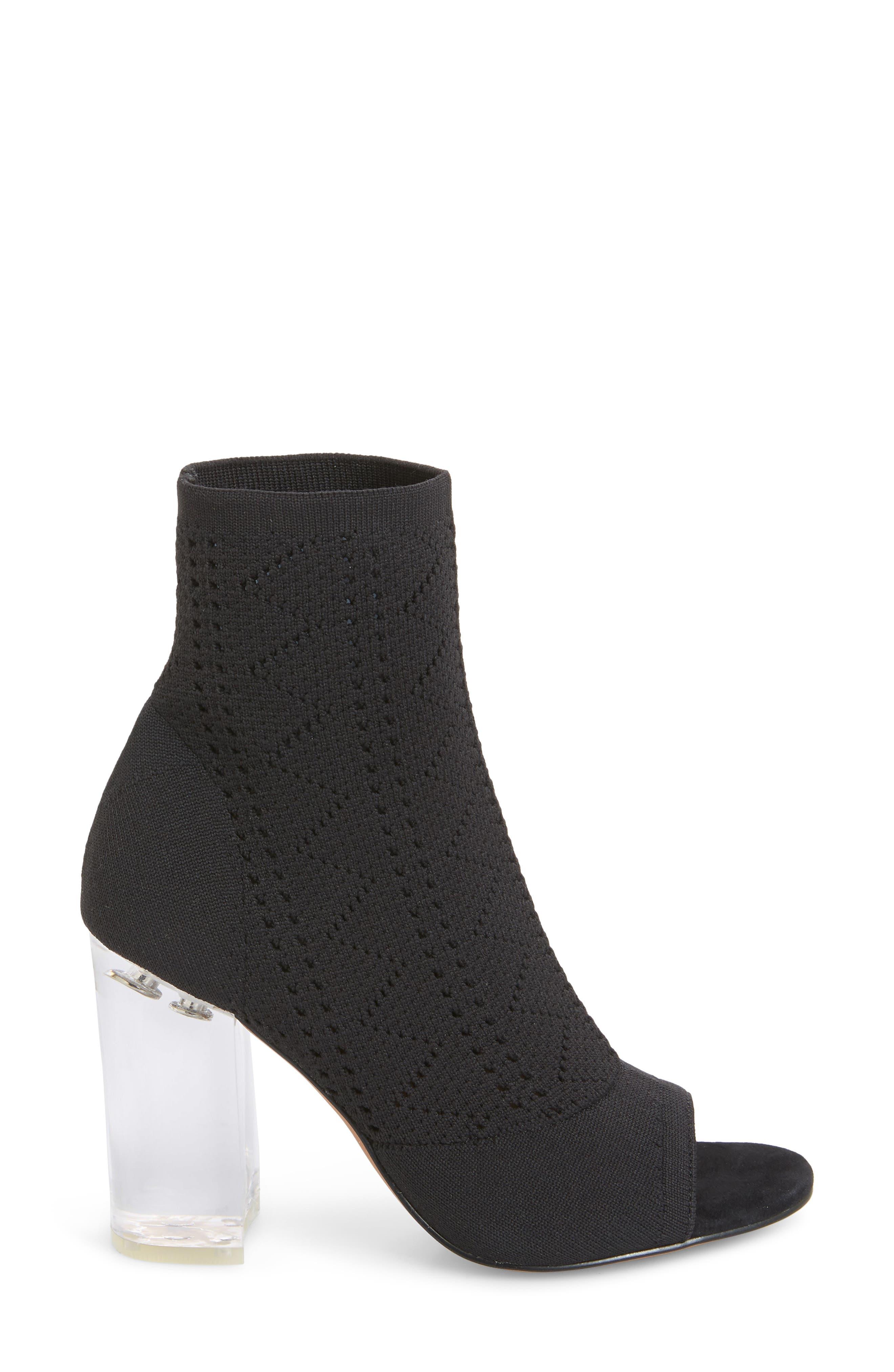 Hollis Peep Toe Sock Bootie,                             Alternate thumbnail 3, color,                             BLACK FABRIC