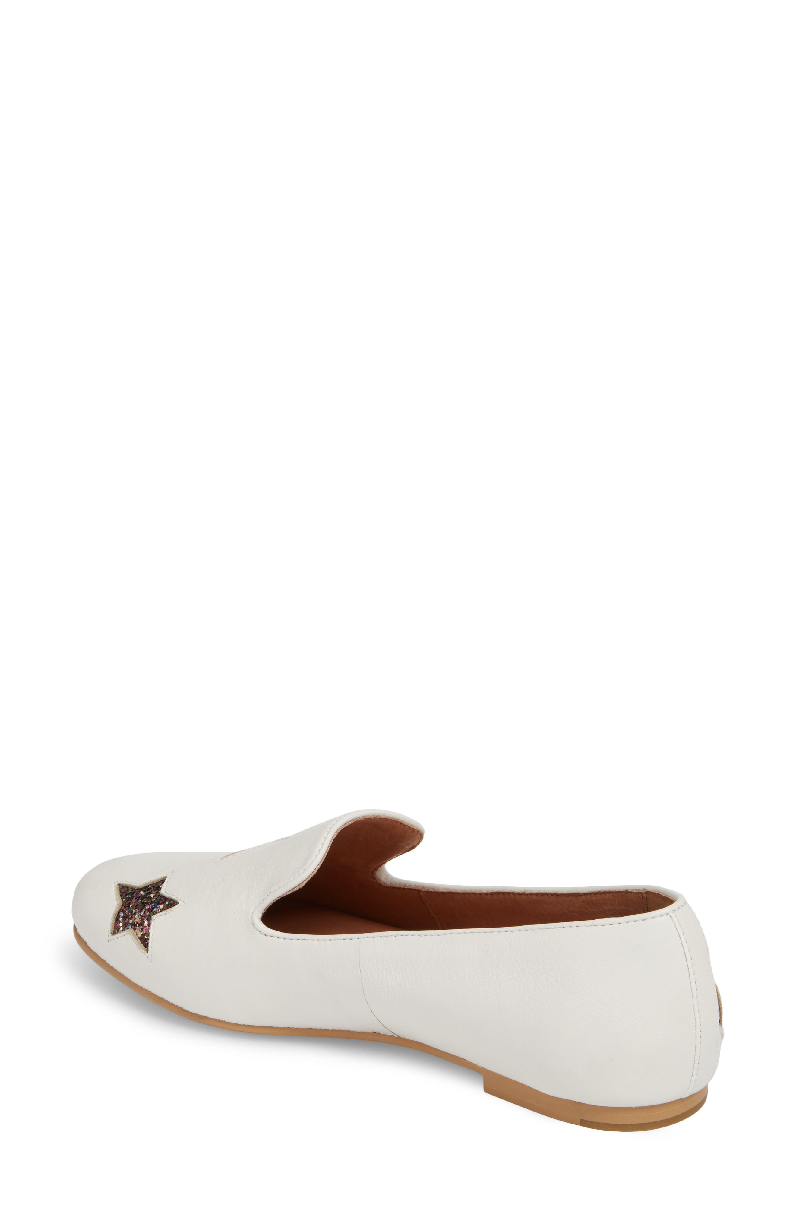 Eugene Stars Flat,                             Alternate thumbnail 2, color,                             WHITE STARS LEATHER