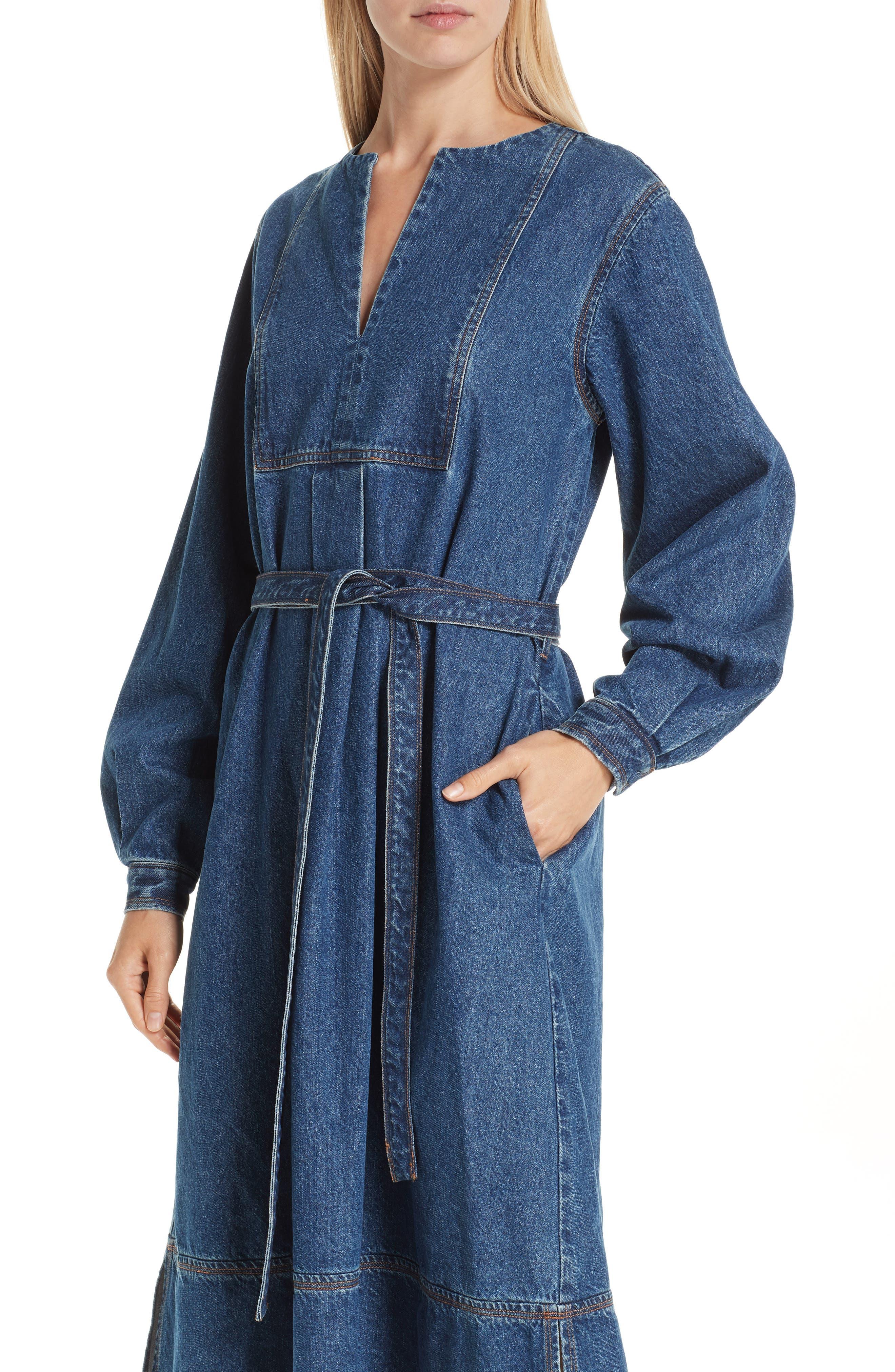 Denim A-Line Dress,                             Alternate thumbnail 4, color,                             INDIGO