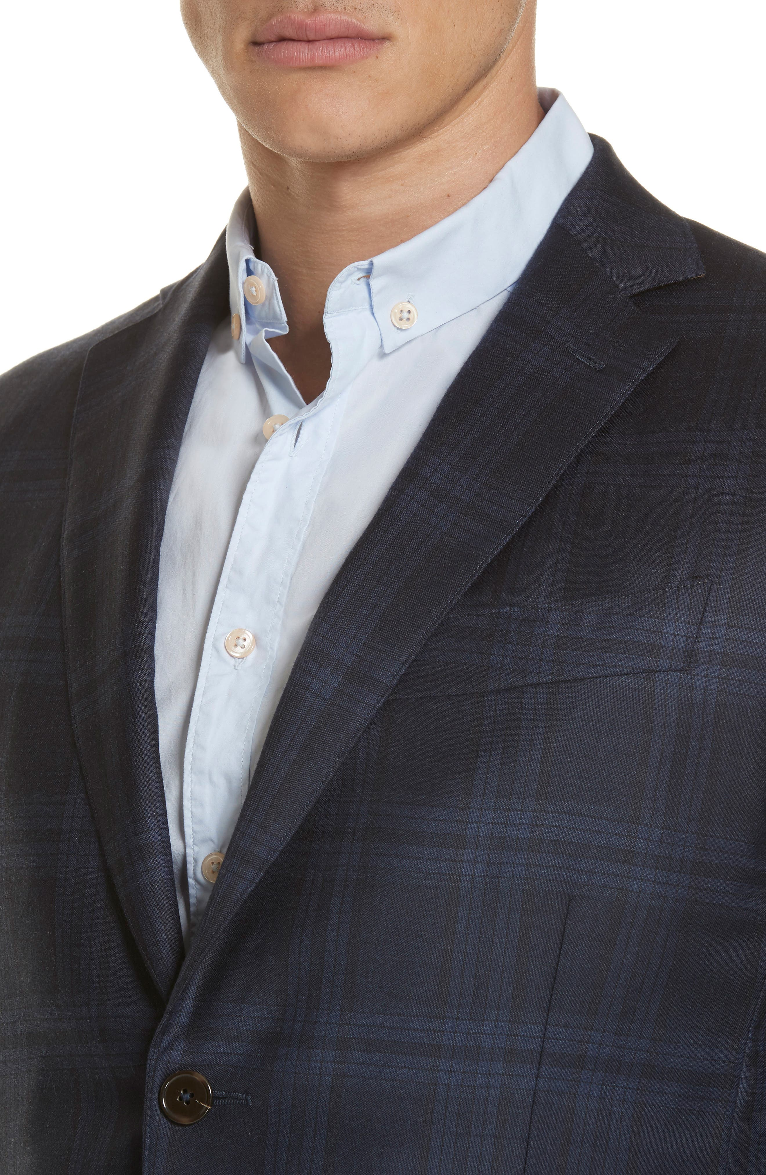 Trim Fit Plaid Wool & Cashmere Suit,                             Alternate thumbnail 4, color,                             CHARCOAL/ BLUE