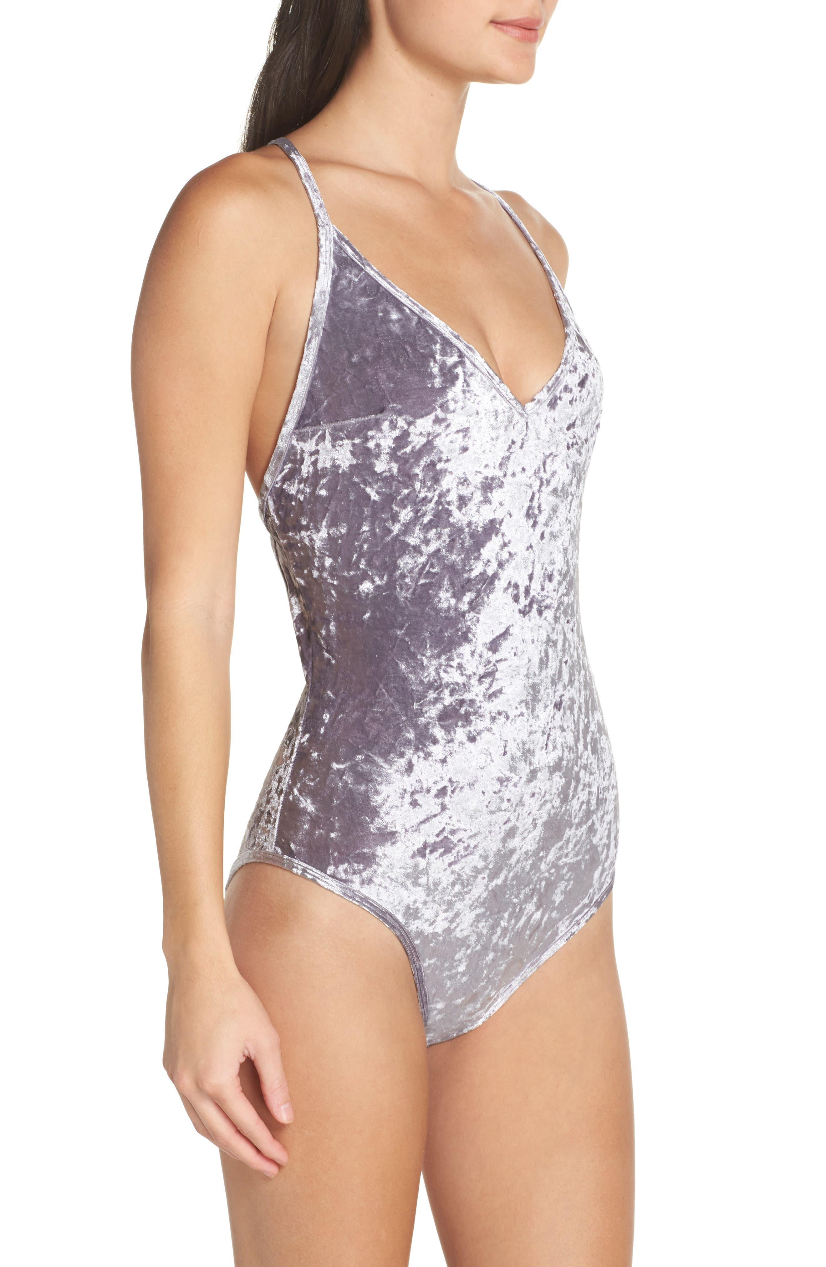 Crushed Velvet Bodysuit,                             Alternate thumbnail 3, color,                             040