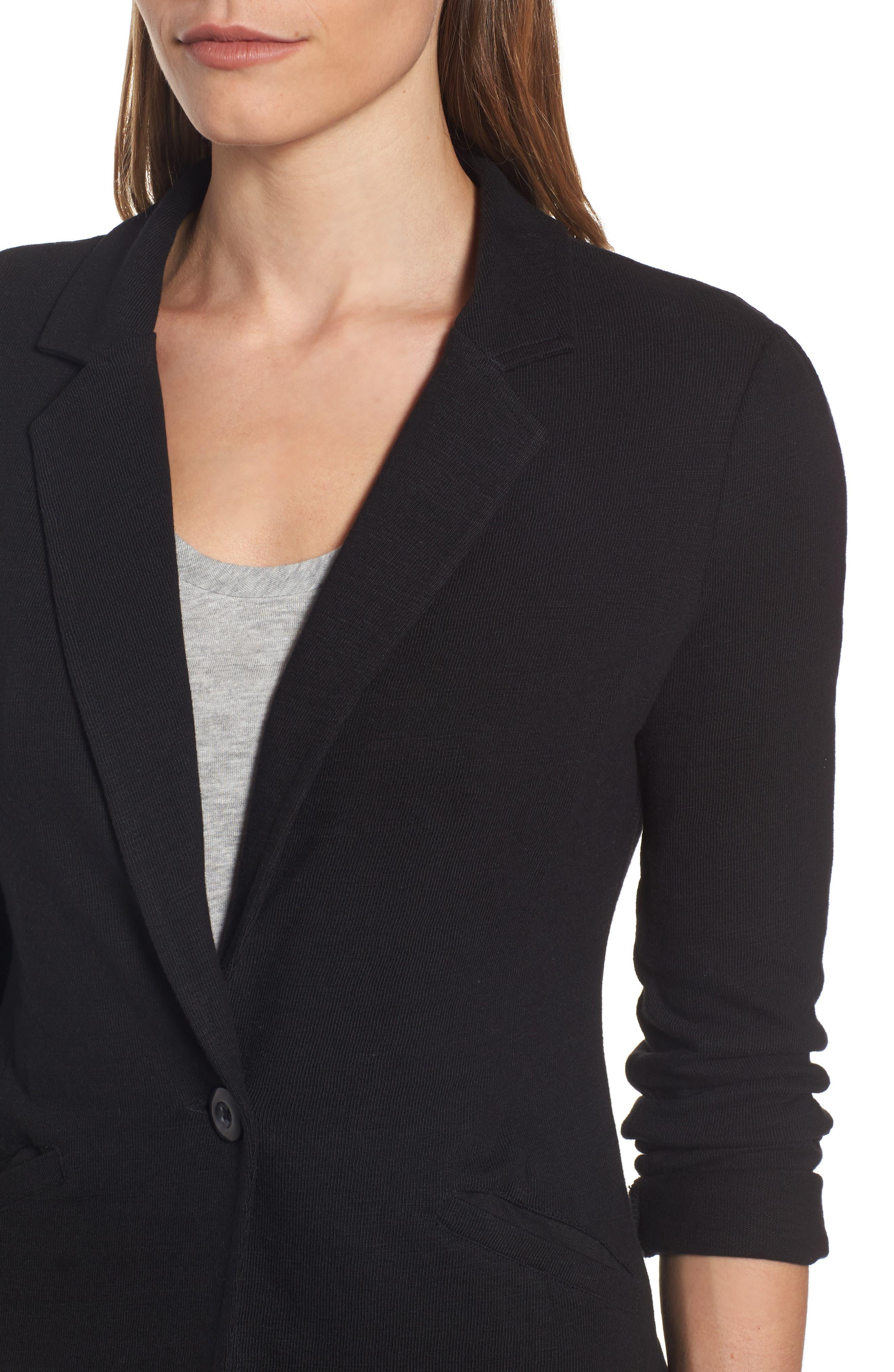 CASLON<SUP>®</SUP>,                             Knit One-Button Blazer,                             Alternate thumbnail 4, color,                             BLACK