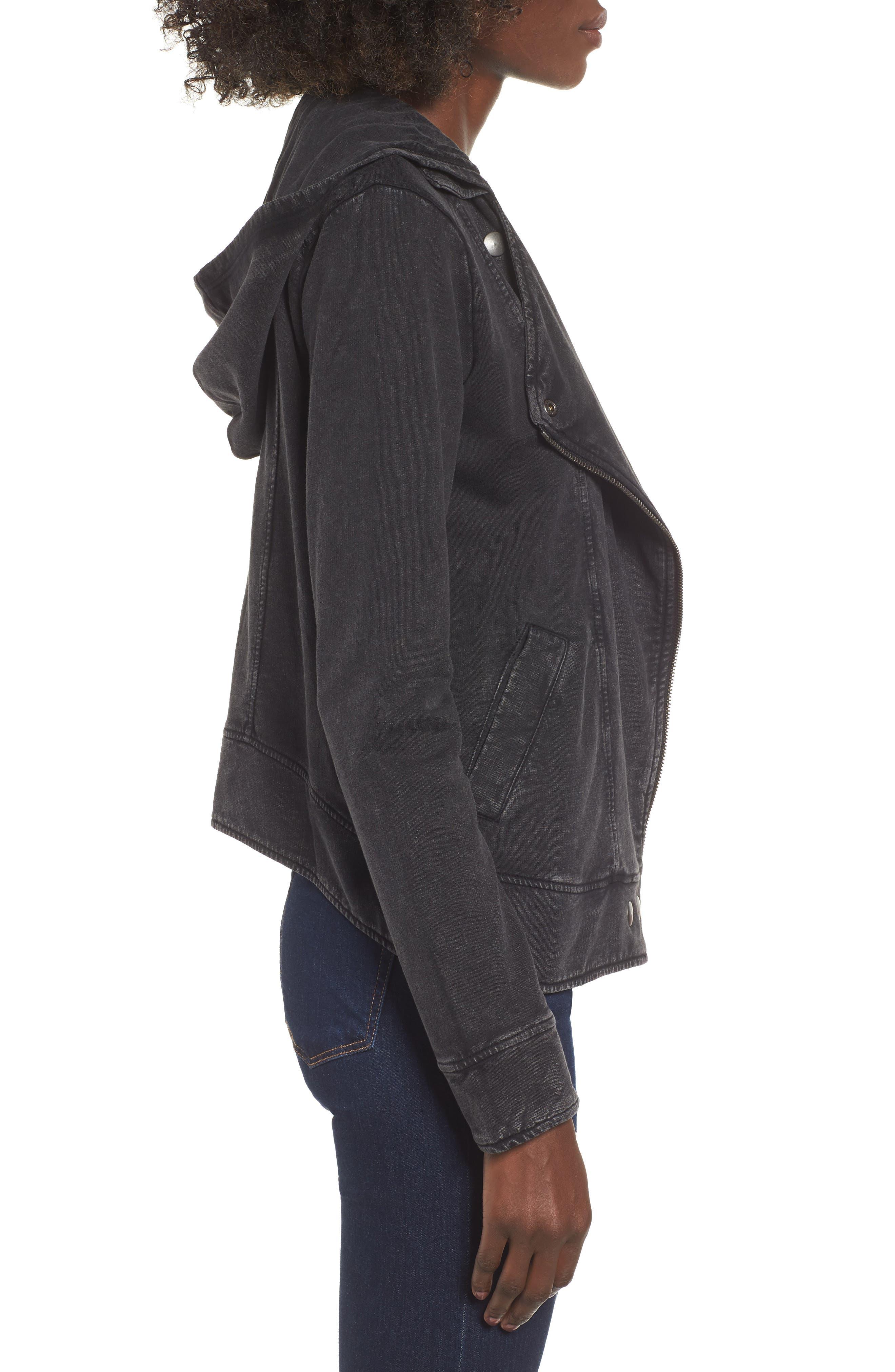 Hooded Knit Moto Jacket,                             Alternate thumbnail 3, color,                             BLACK