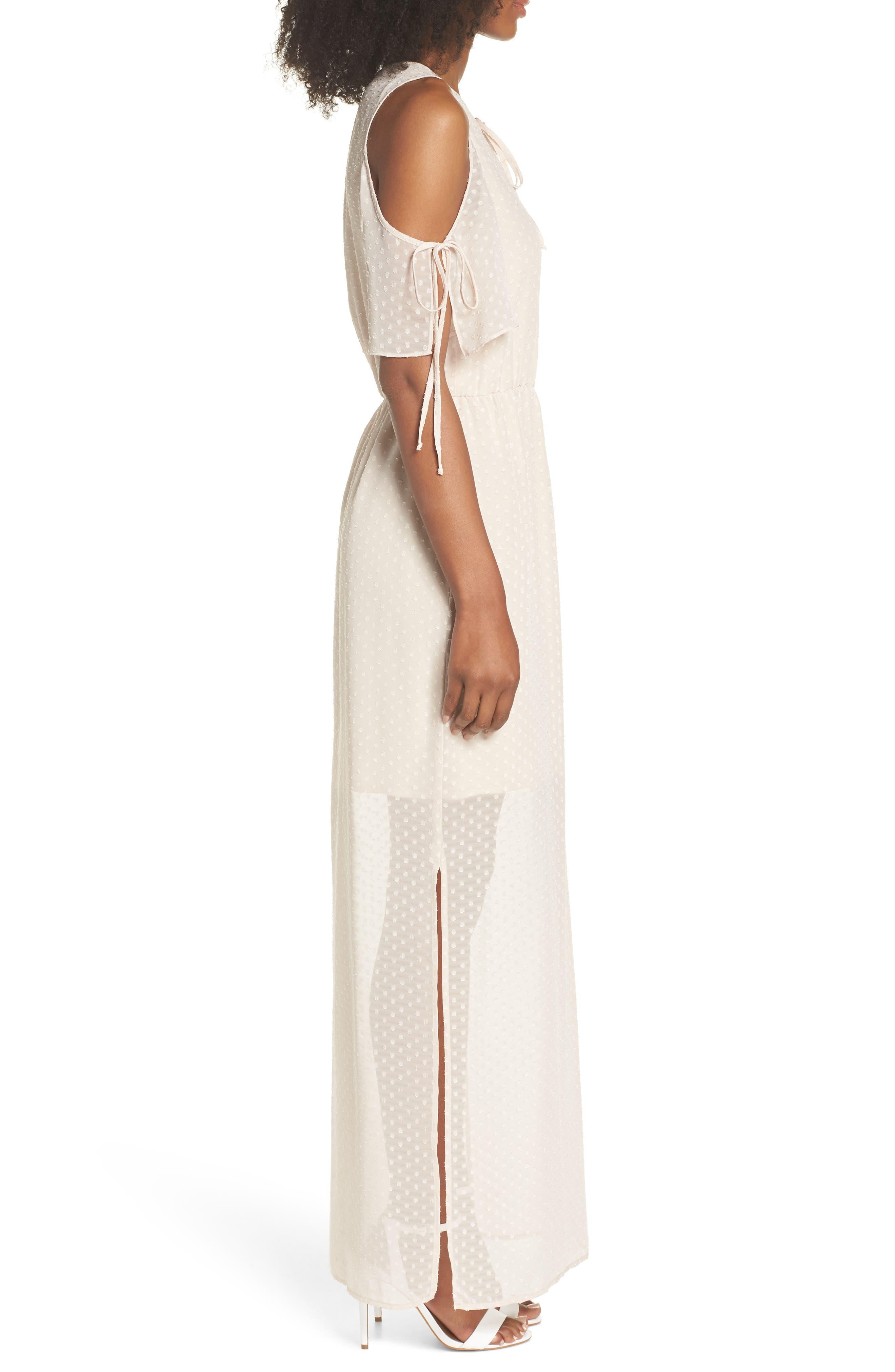 Tie Sleeve Cold Shoulder Maxi Dress,                             Alternate thumbnail 3, color,                             901