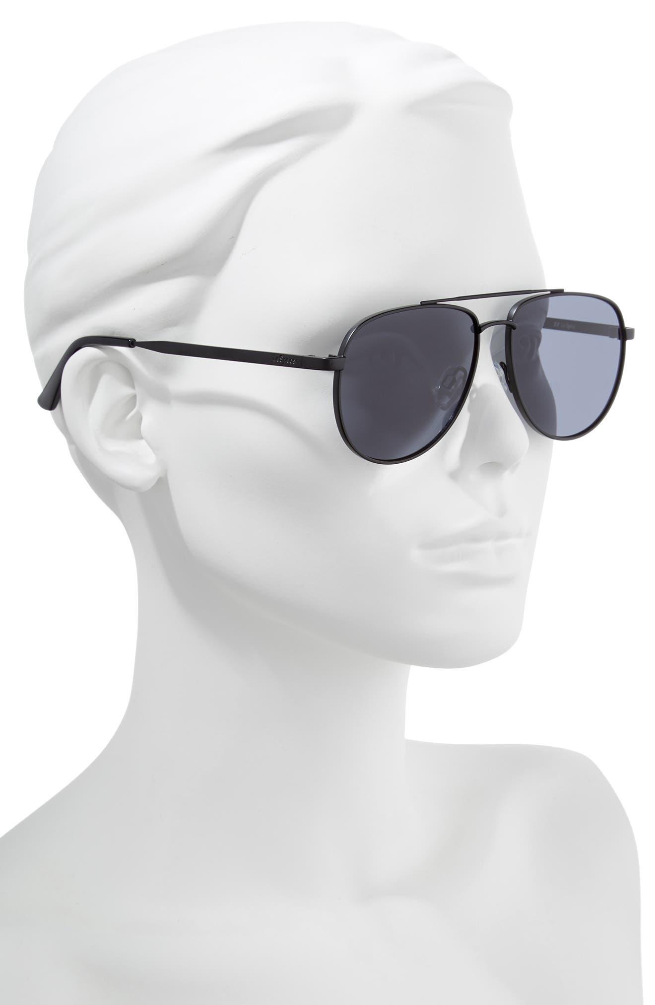 Hard Knock 57mm Aviator Sunglasses,                             Alternate thumbnail 2, color,                             MATTE BLACK
