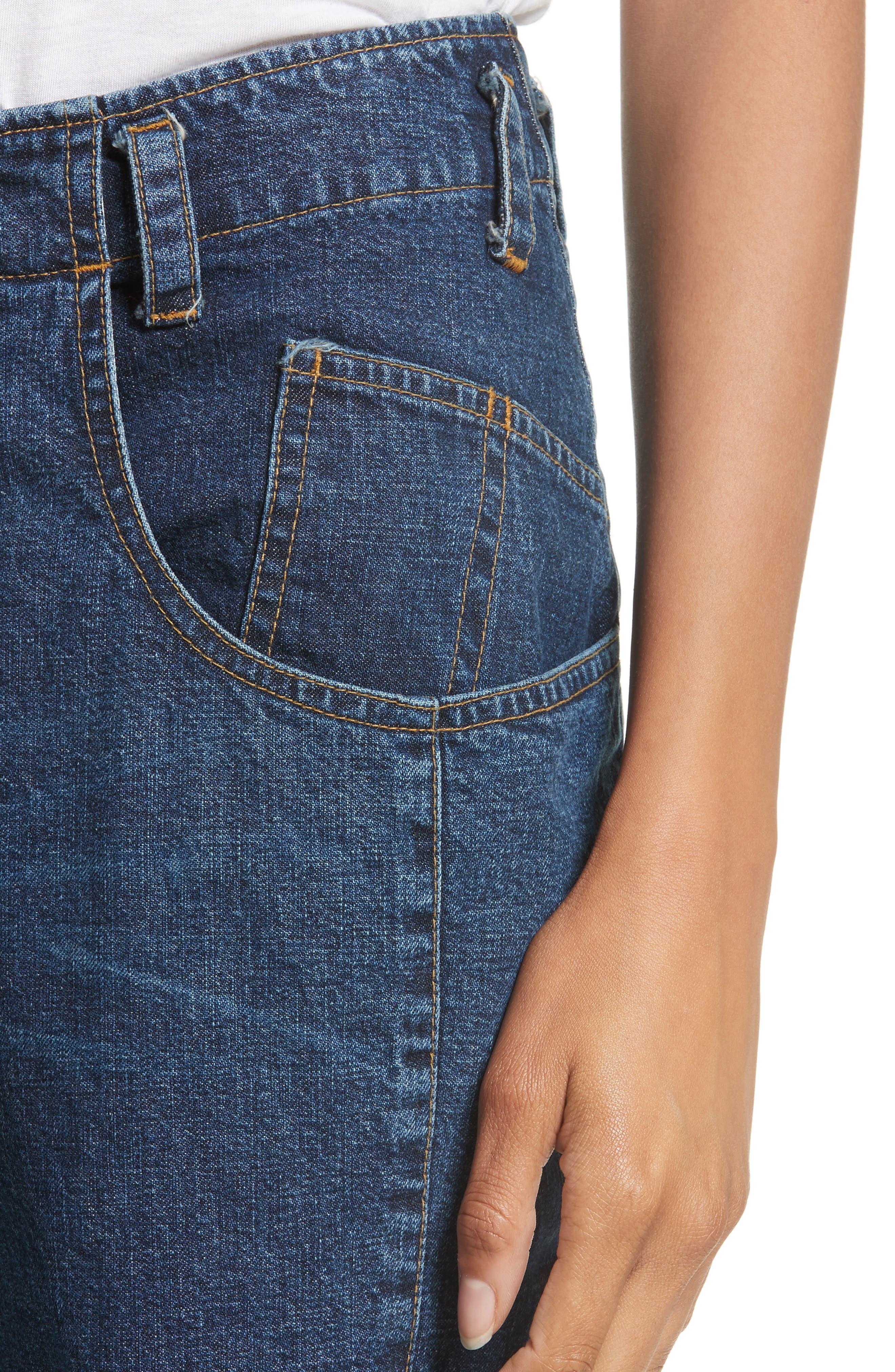 Long Trigger Straight Leg Jeans,                             Alternate thumbnail 4, color,                             420