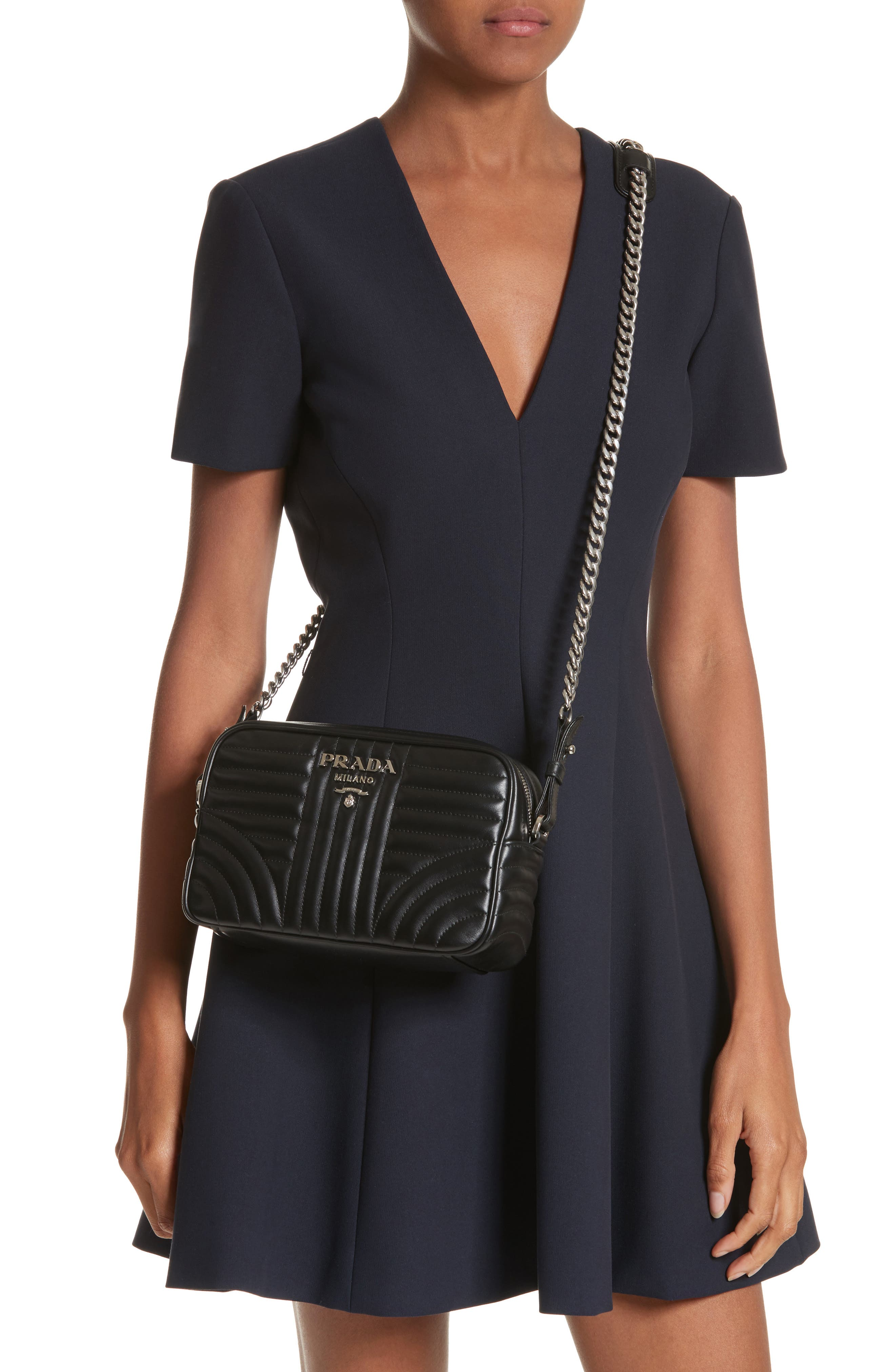 Small Quilted Bowler Crossbody Bag,                             Alternate thumbnail 2, color,                             NERO