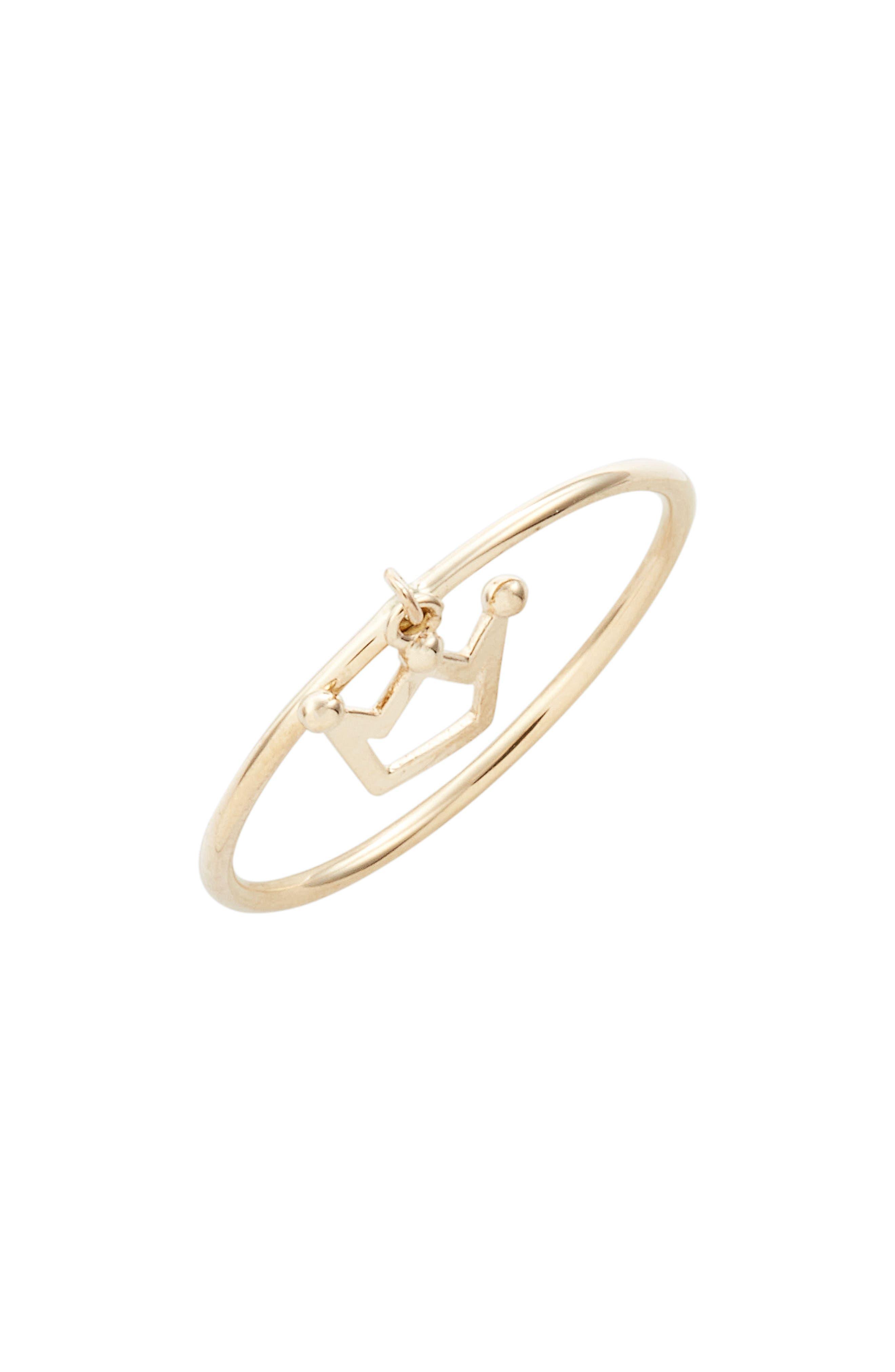 Skinny Dangling Crown Charm Ring,                             Main thumbnail 1, color,                             710