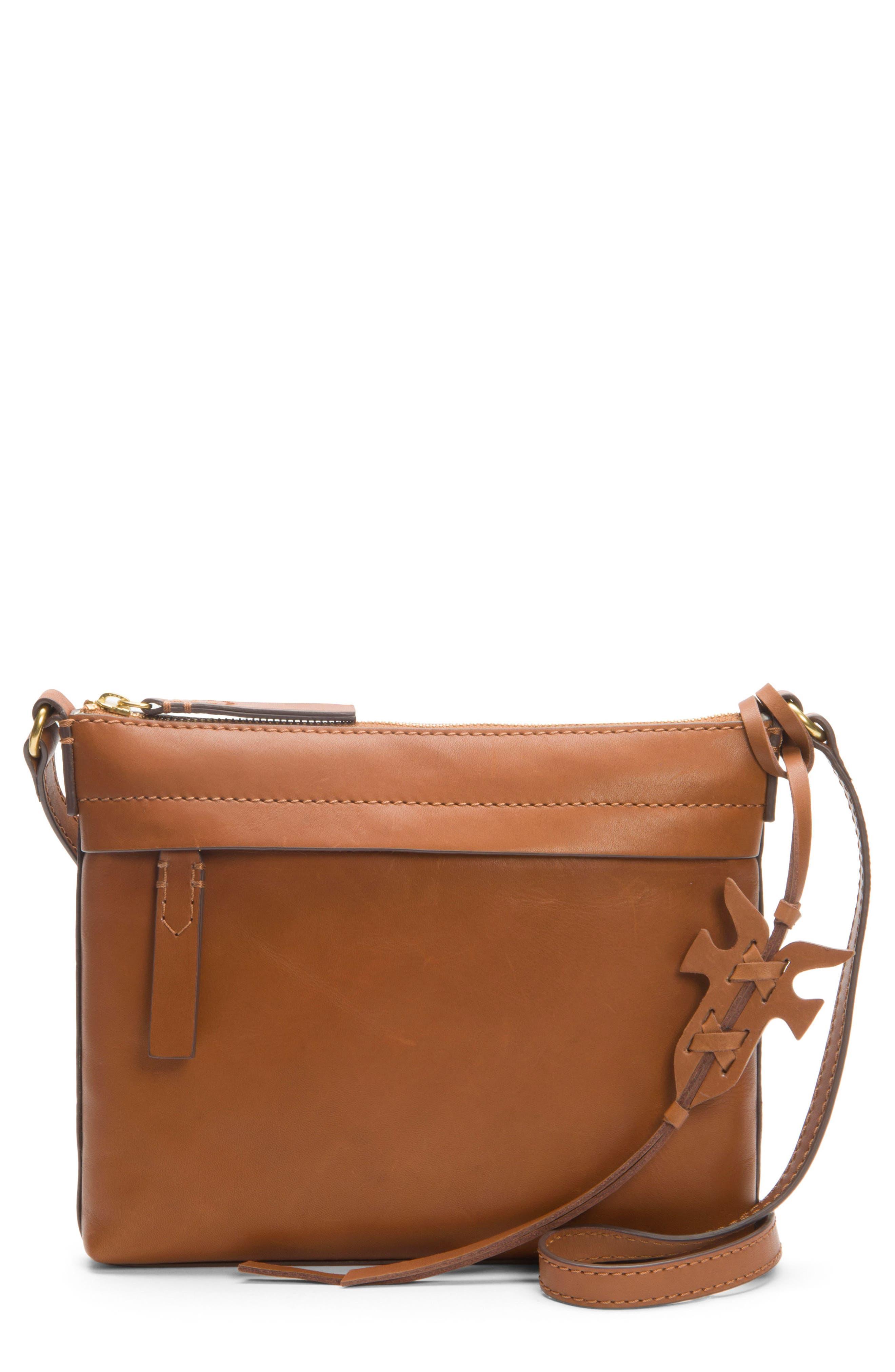 Carson Leather Crossbody Bag,                             Main thumbnail 1, color,                             COGNAC