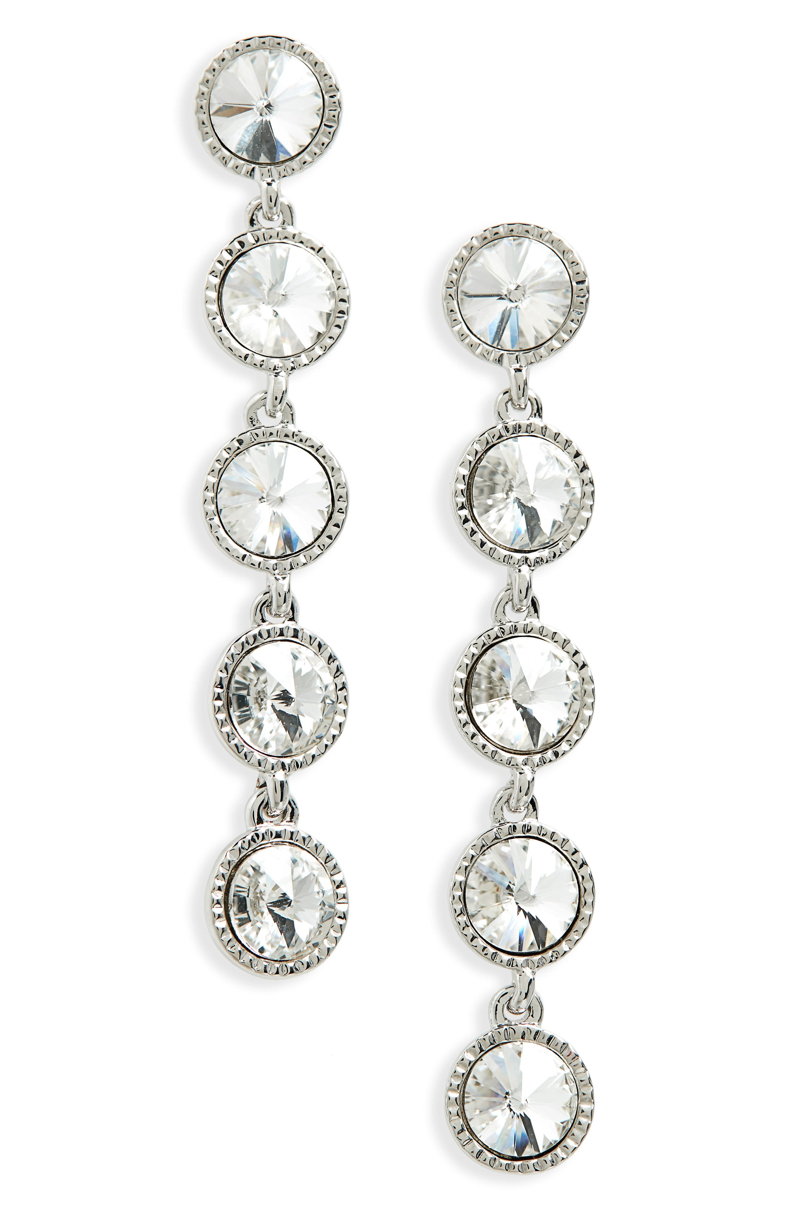 Rizza Crystal Drop Earrings,                             Main thumbnail 1, color,                             CRYSTAL