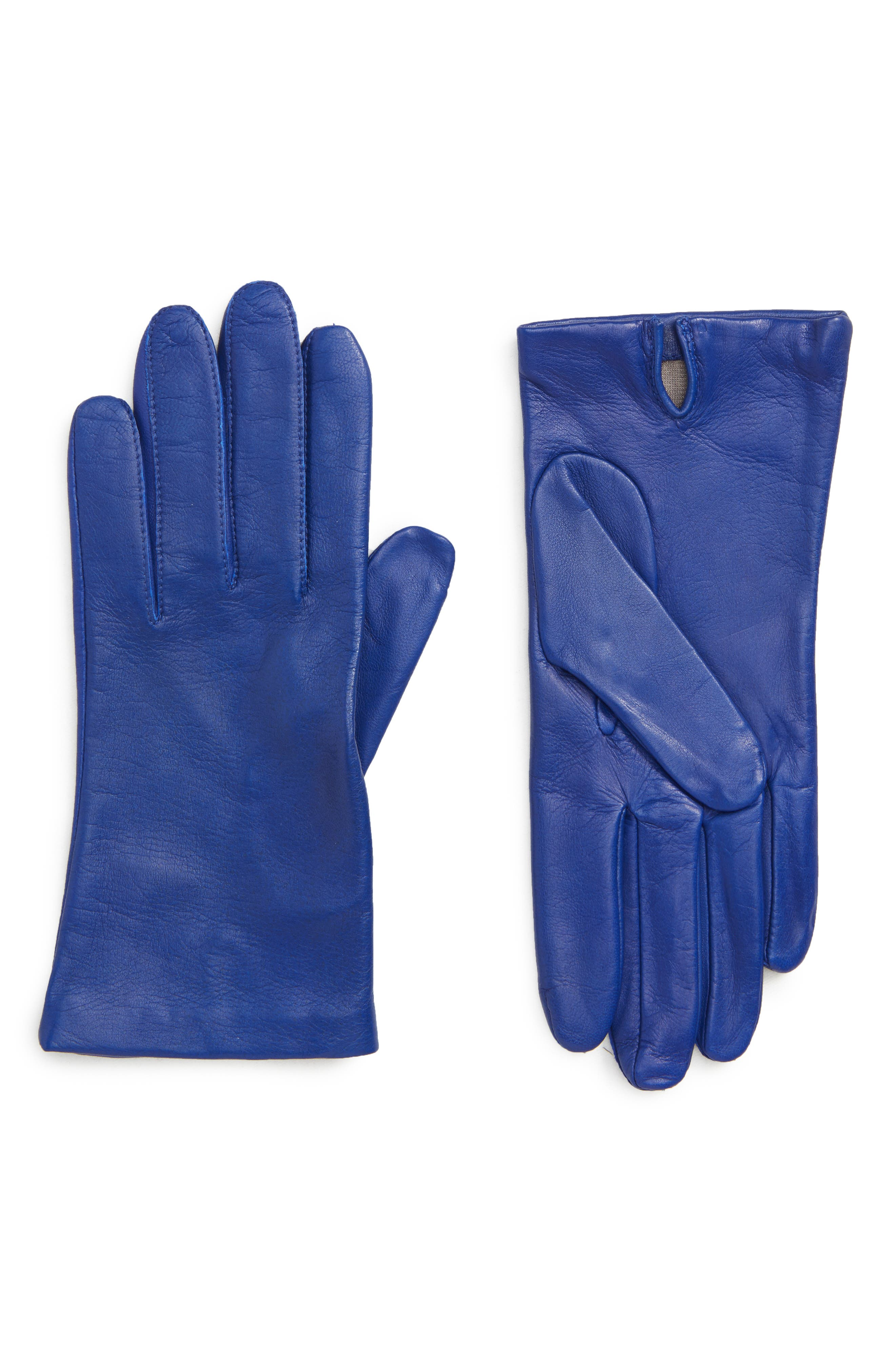 Nordstrom Lambskin Leather Gloves, Blue