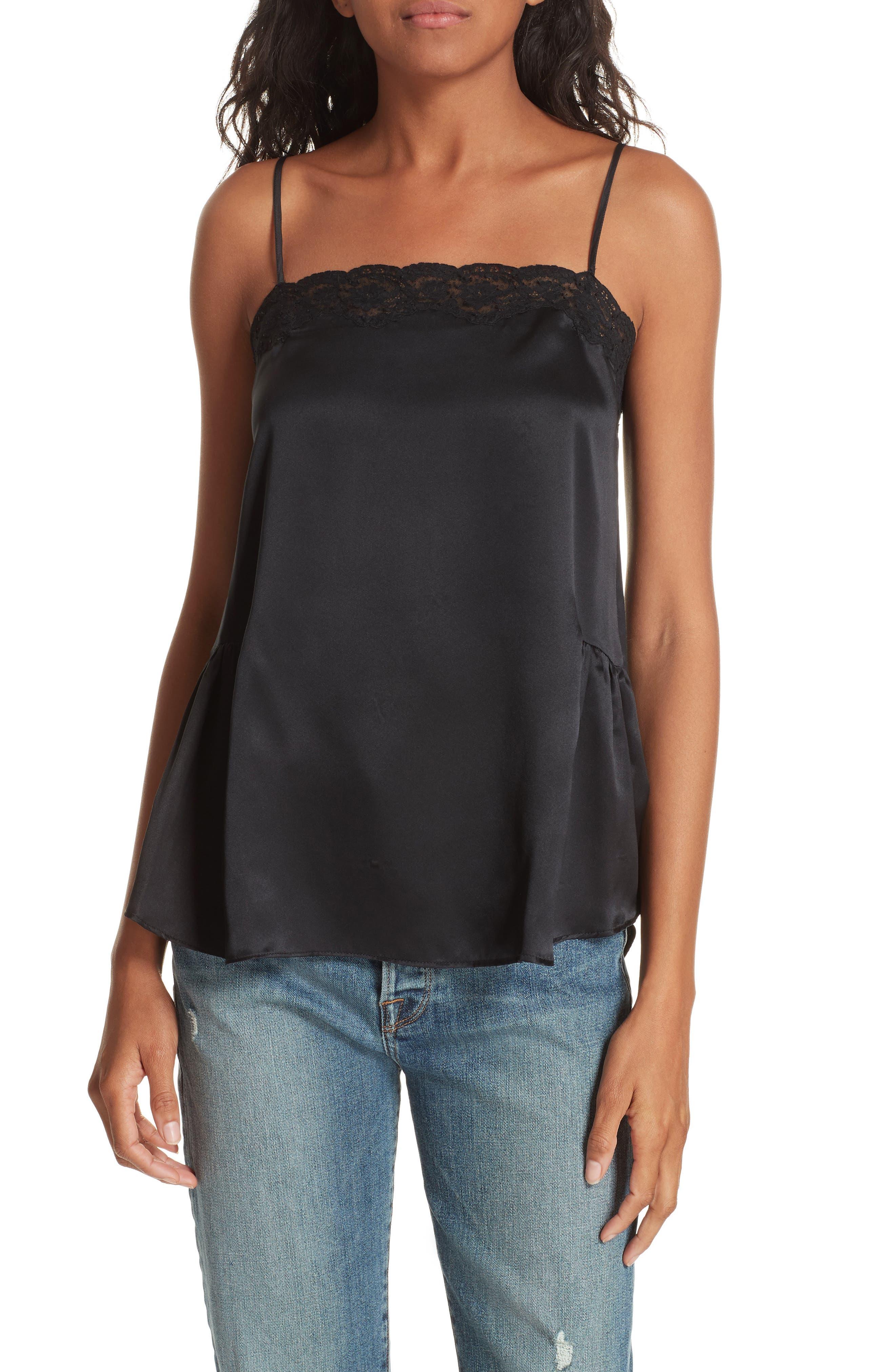 Alinea Deep Silk Camisole,                         Main,                         color, BLACK