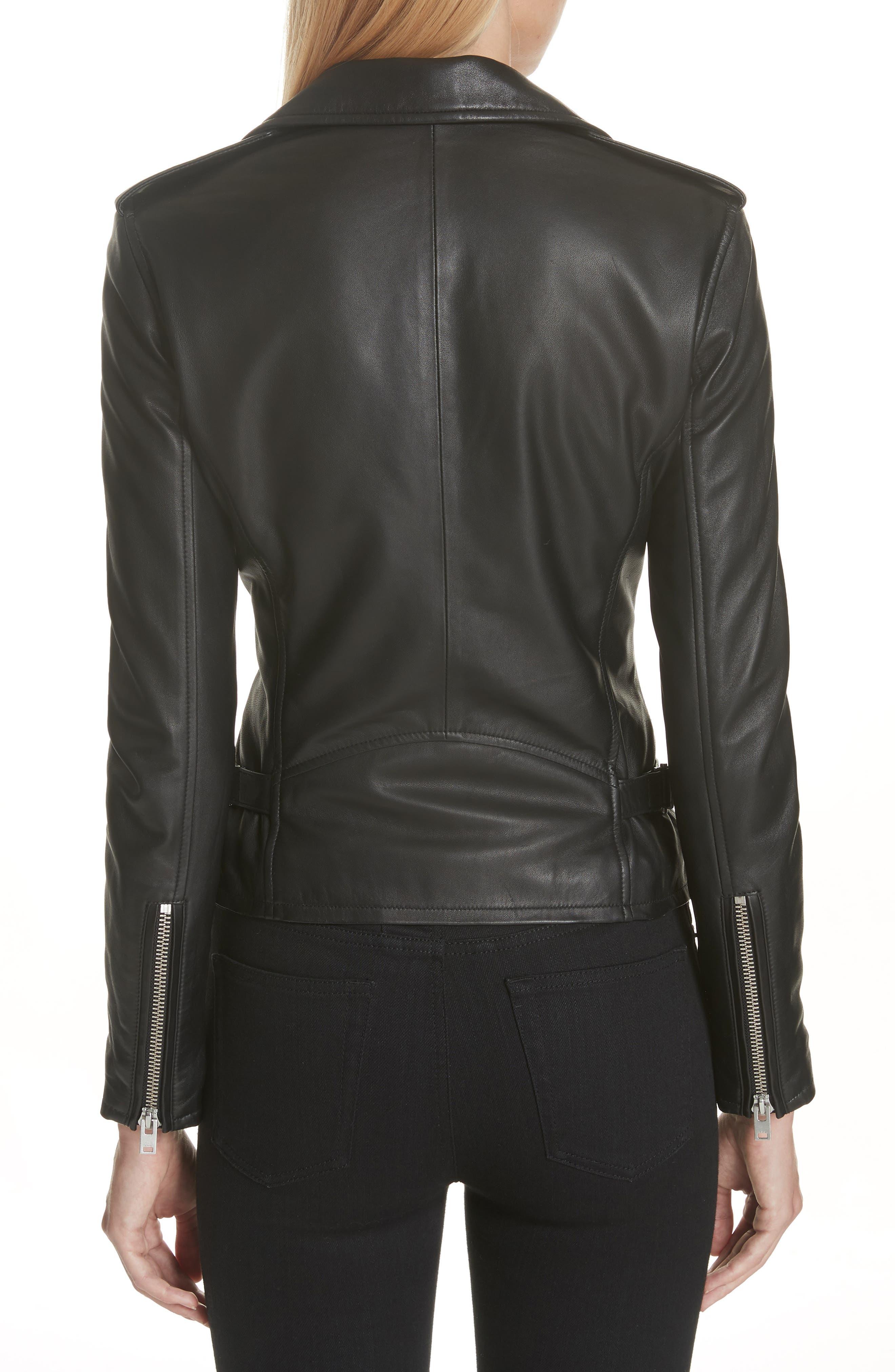 Leather Moto Jacket,                             Alternate thumbnail 2, color,                             BLACK