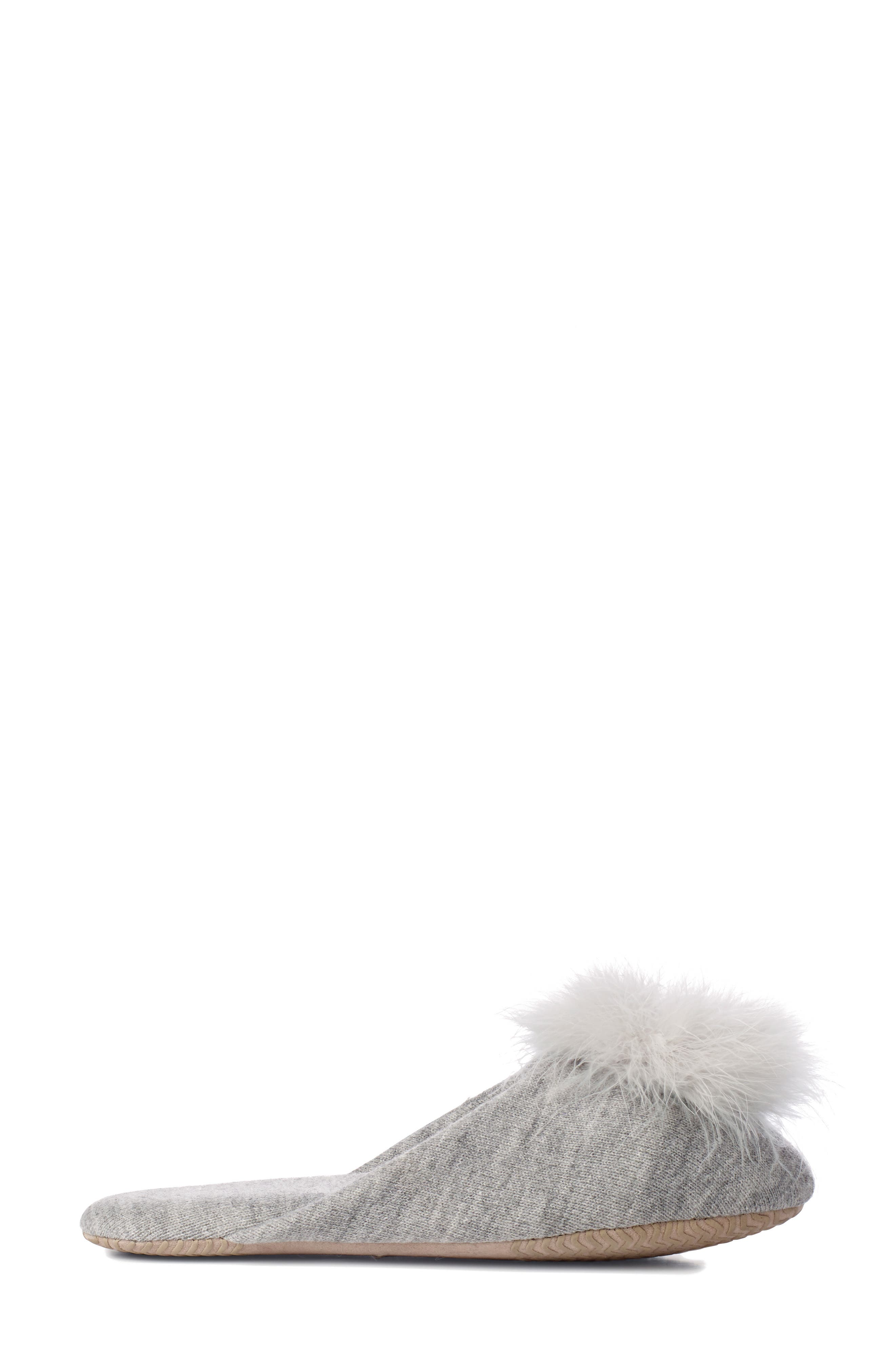 Feather Pompom Mule Slipper,                             Alternate thumbnail 3, color,                             PALE GREY HEATHER