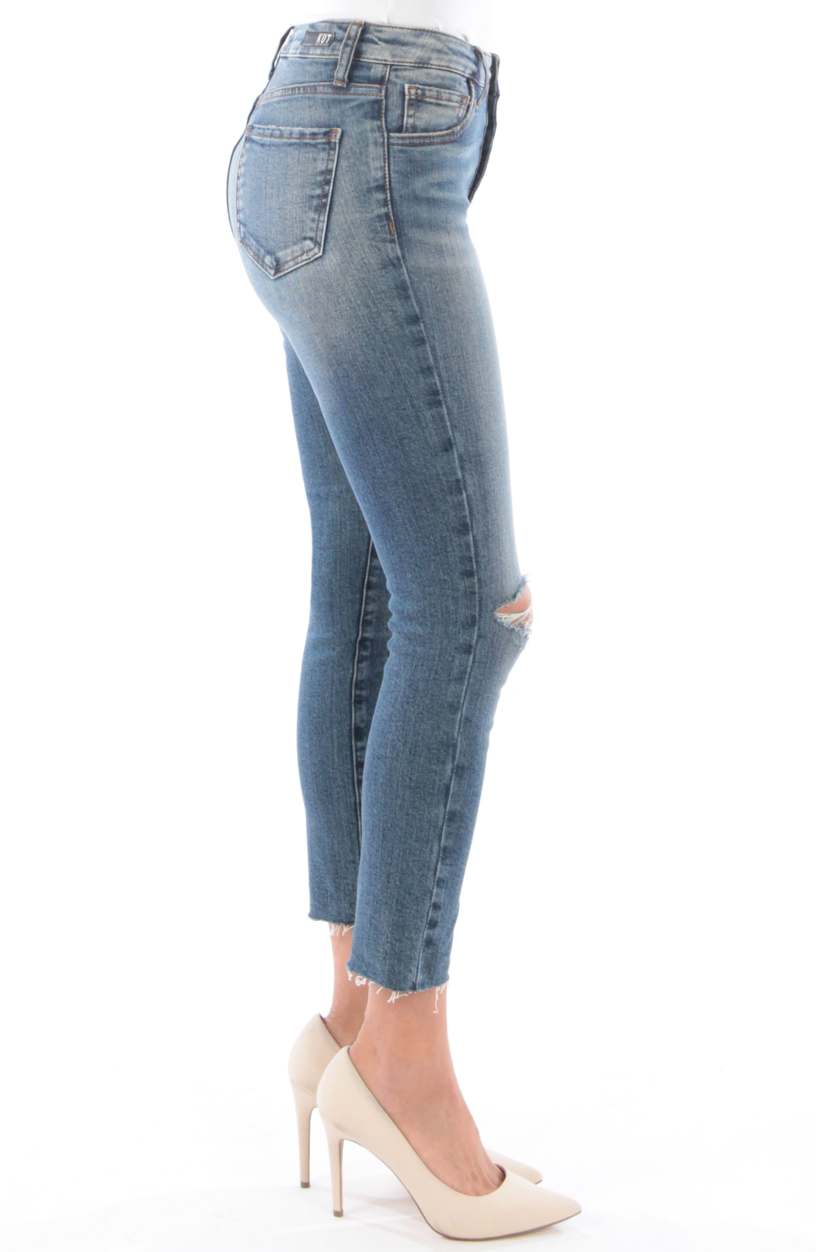 Reese Ripped Ankle Straight Leg Jeans,                             Alternate thumbnail 3, color,                             402