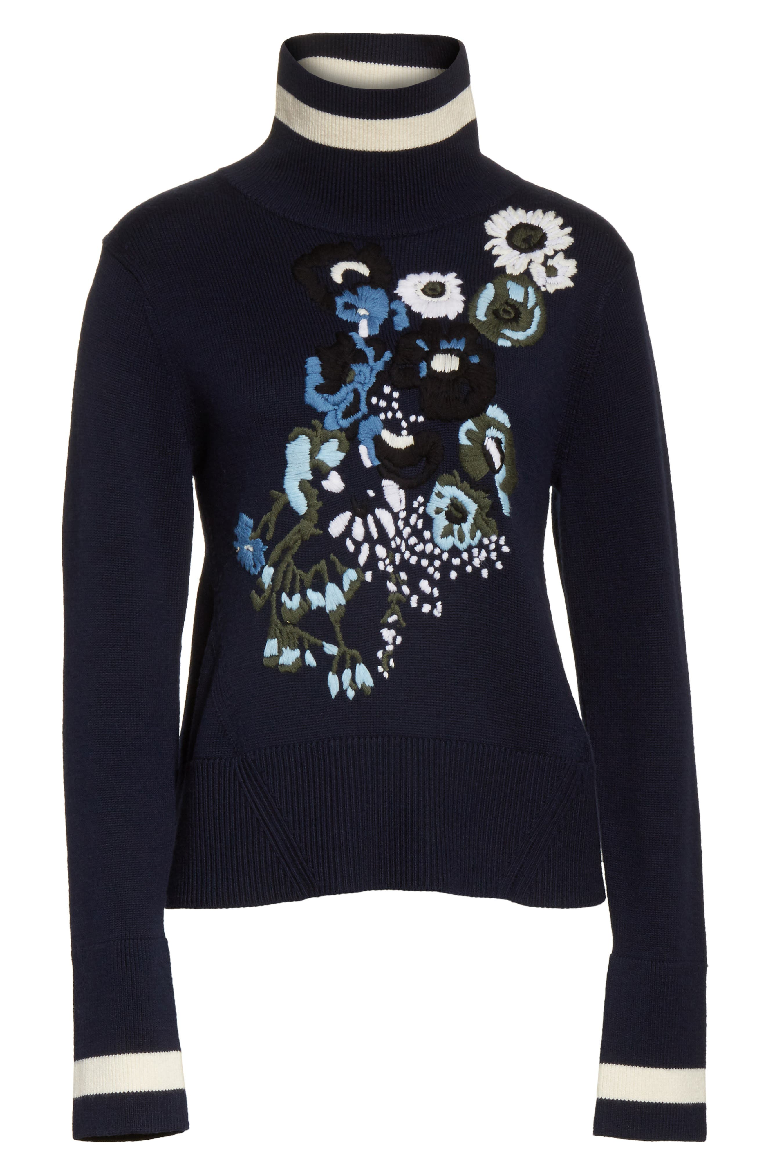 Pia Floral Turtleneck Sweater,                             Alternate thumbnail 6, color,                             410