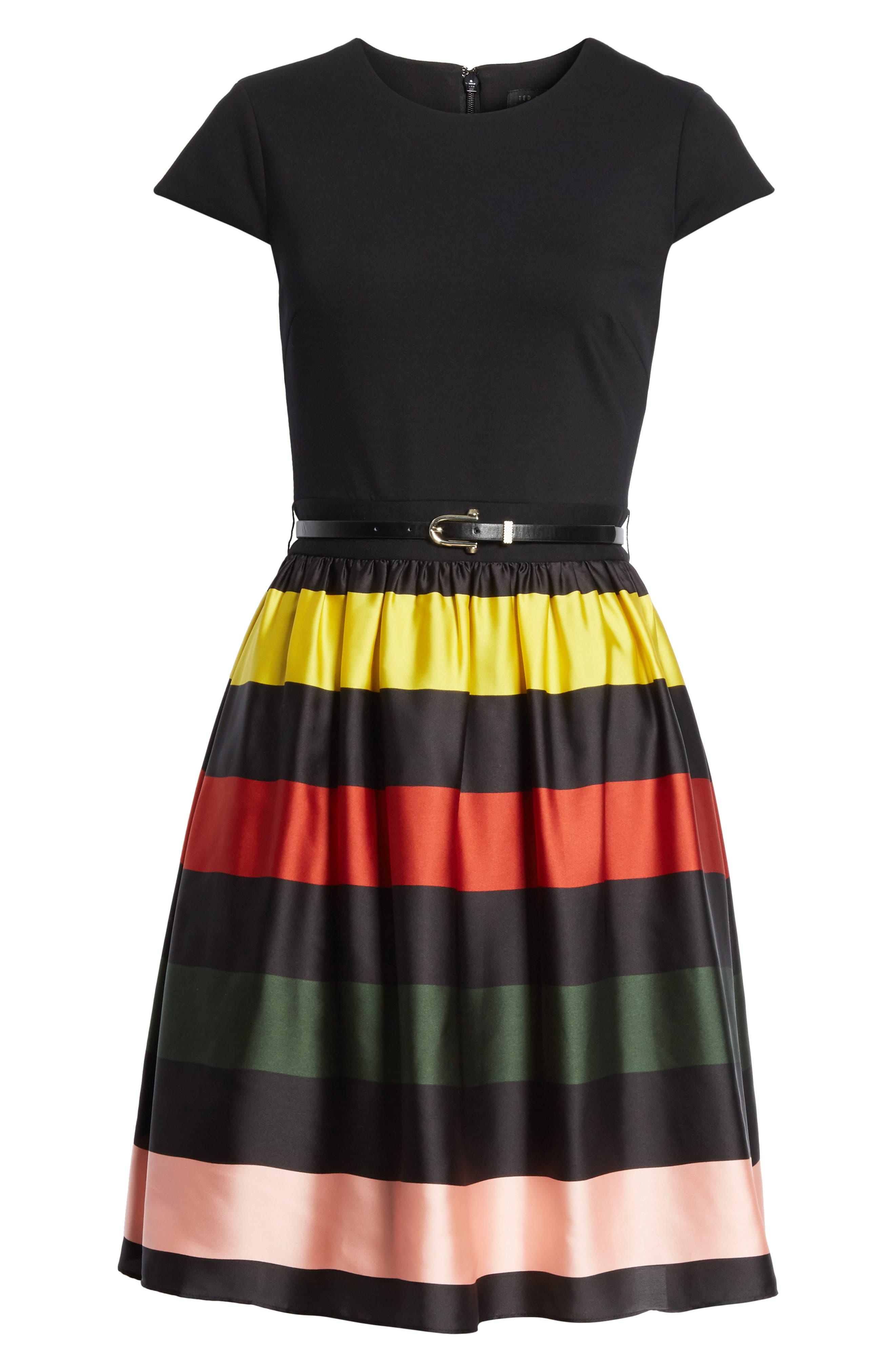 TED BAKER LONDON,                             Cruise Stripe Fit & Flare Dress,                             Alternate thumbnail 6, color,                             001