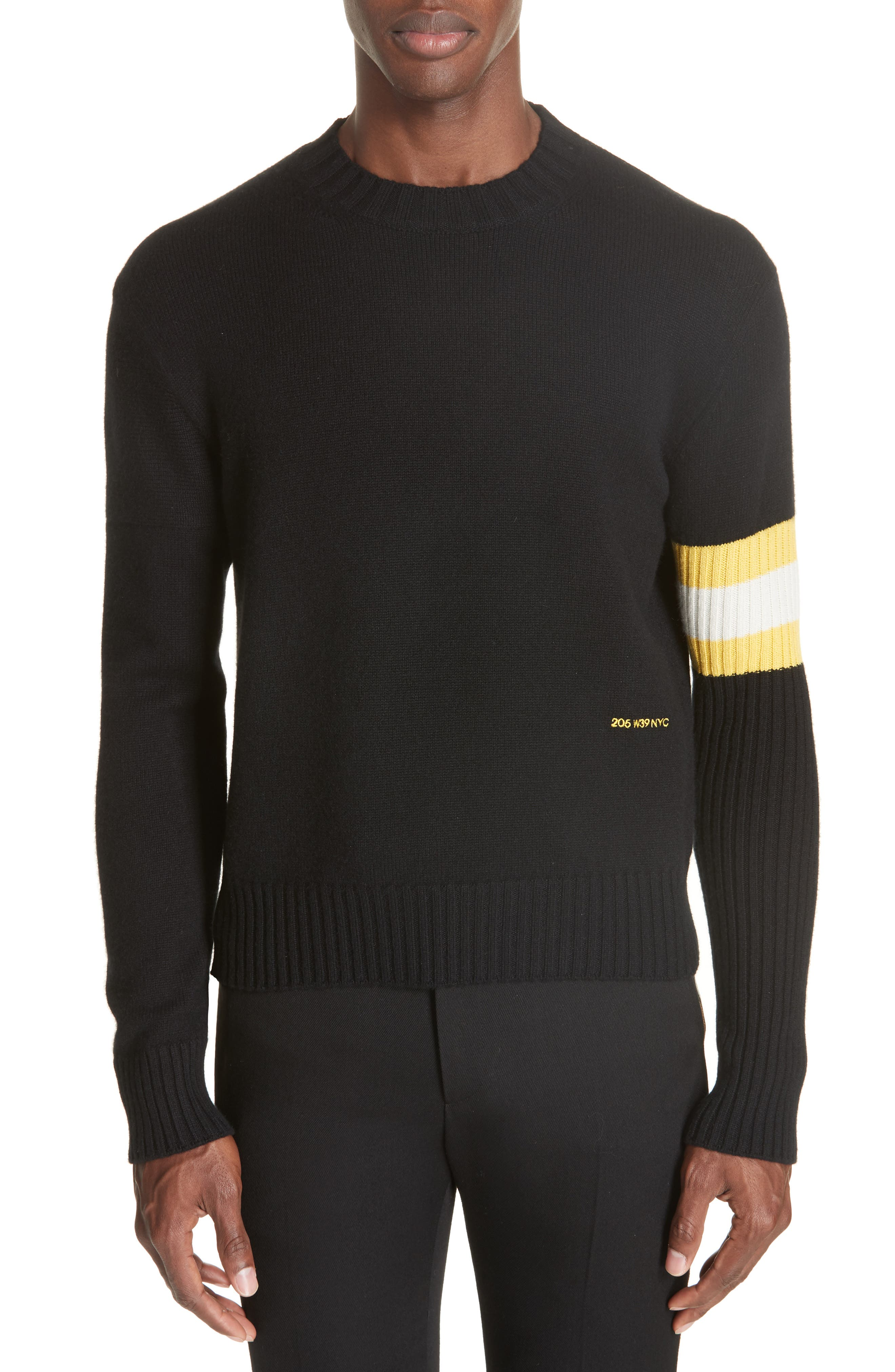 Cashmere Stripe Sleeve Sweater,                             Main thumbnail 1, color,                             001