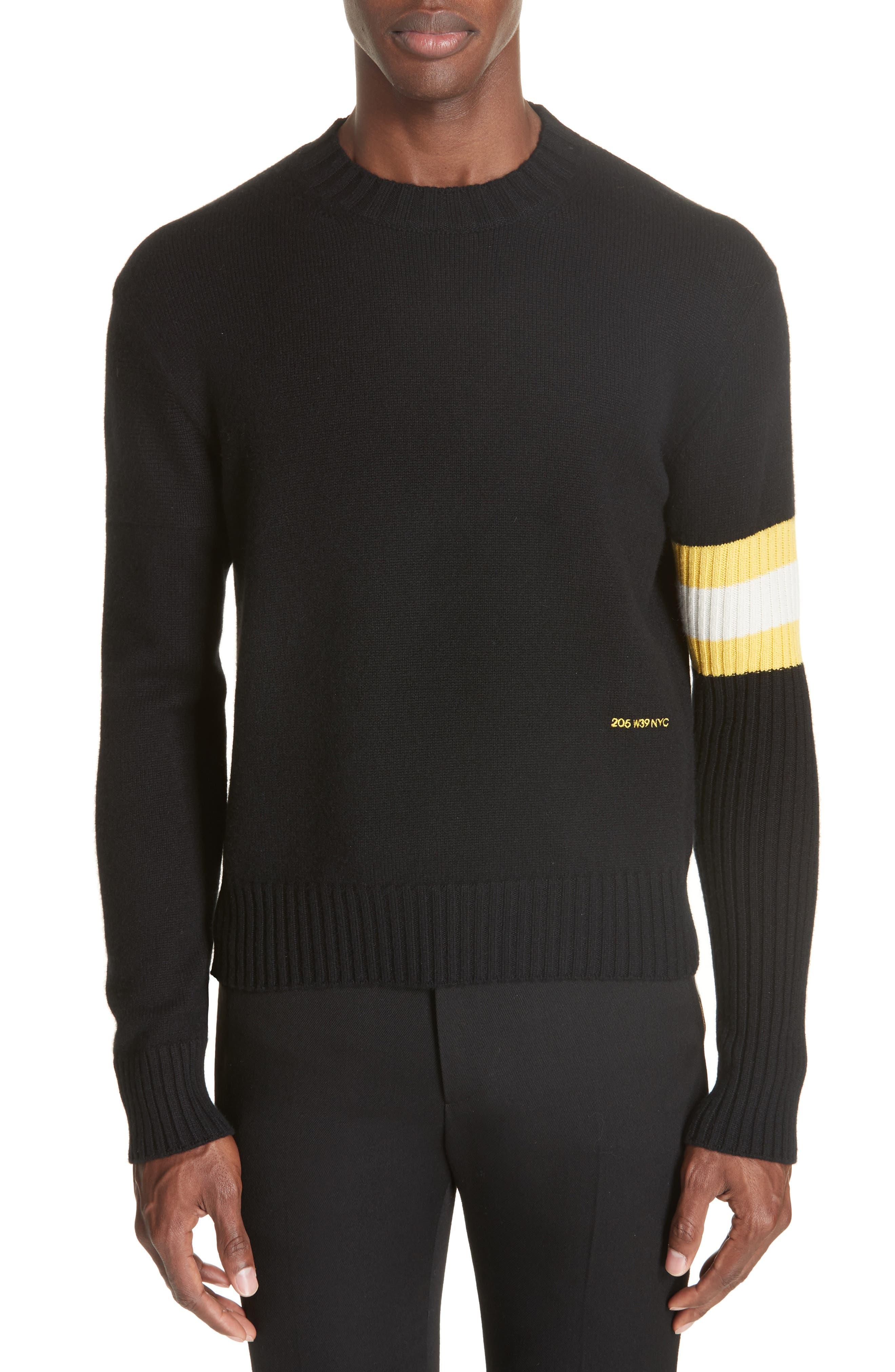 Cashmere Stripe Sleeve Sweater,                         Main,                         color, 001