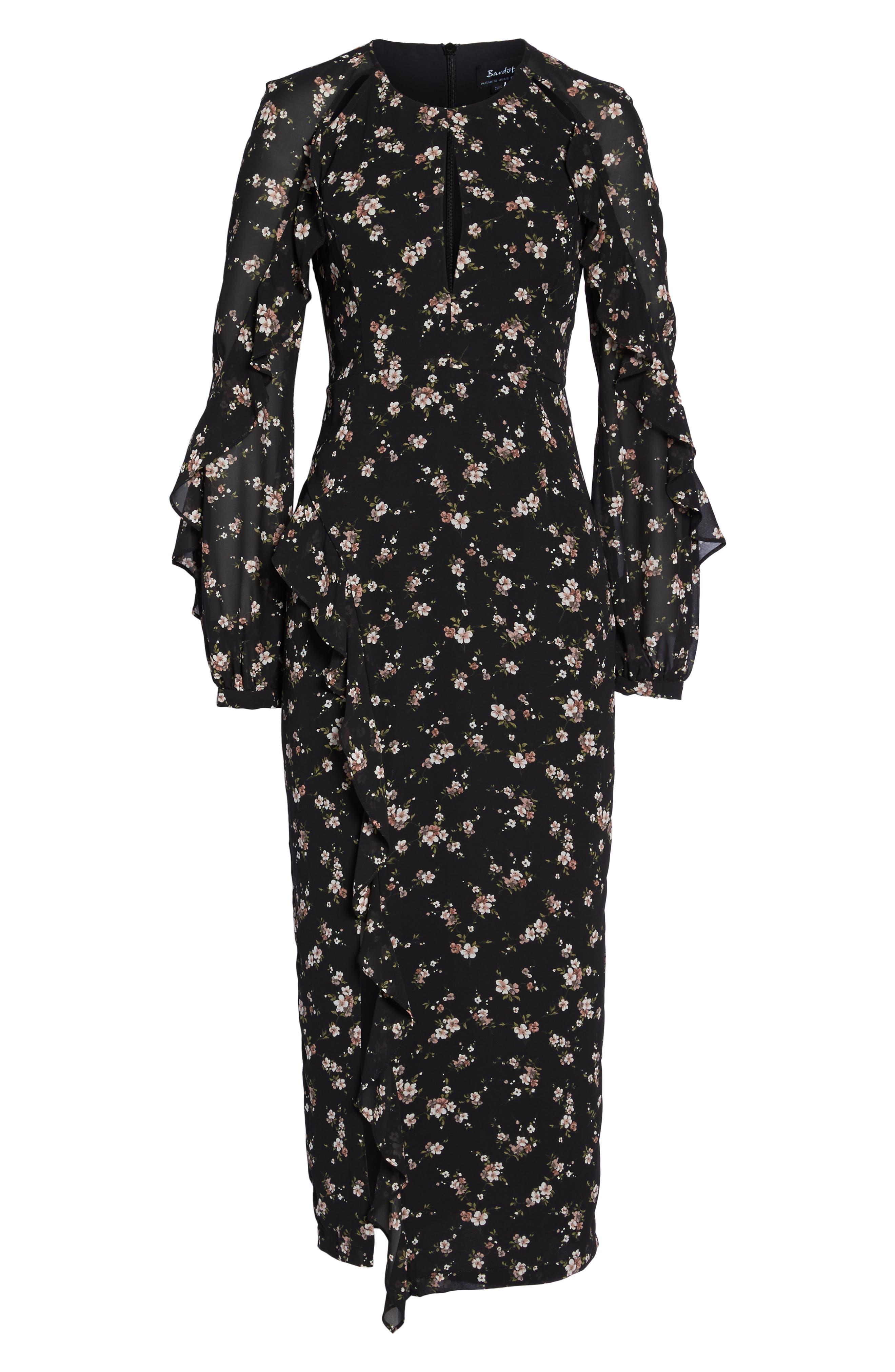 Natalia Midi Dress,                             Alternate thumbnail 6, color,                             005