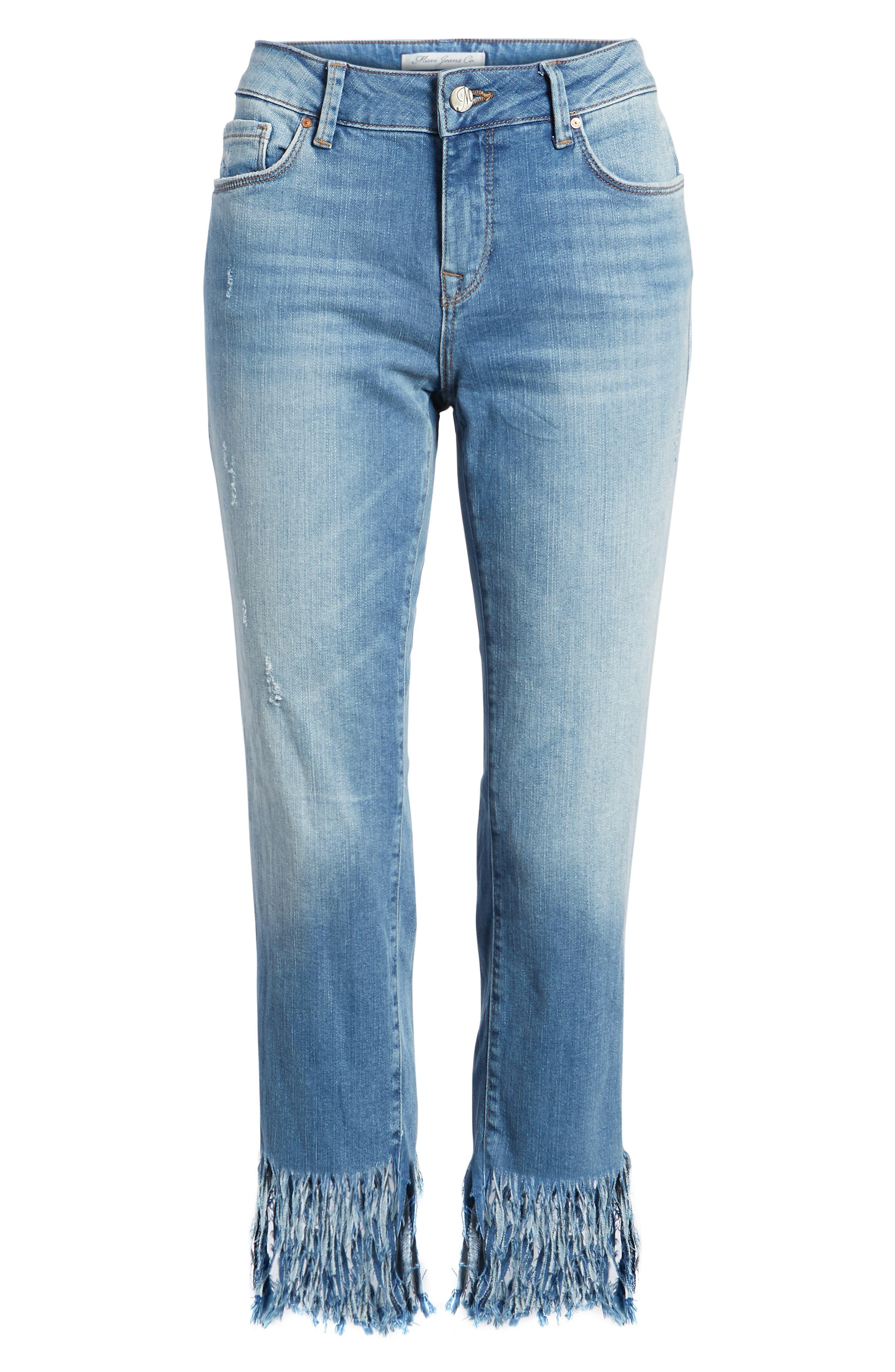 Kerry Fringe Hem Ankle Jeans,                             Alternate thumbnail 7, color,                             420