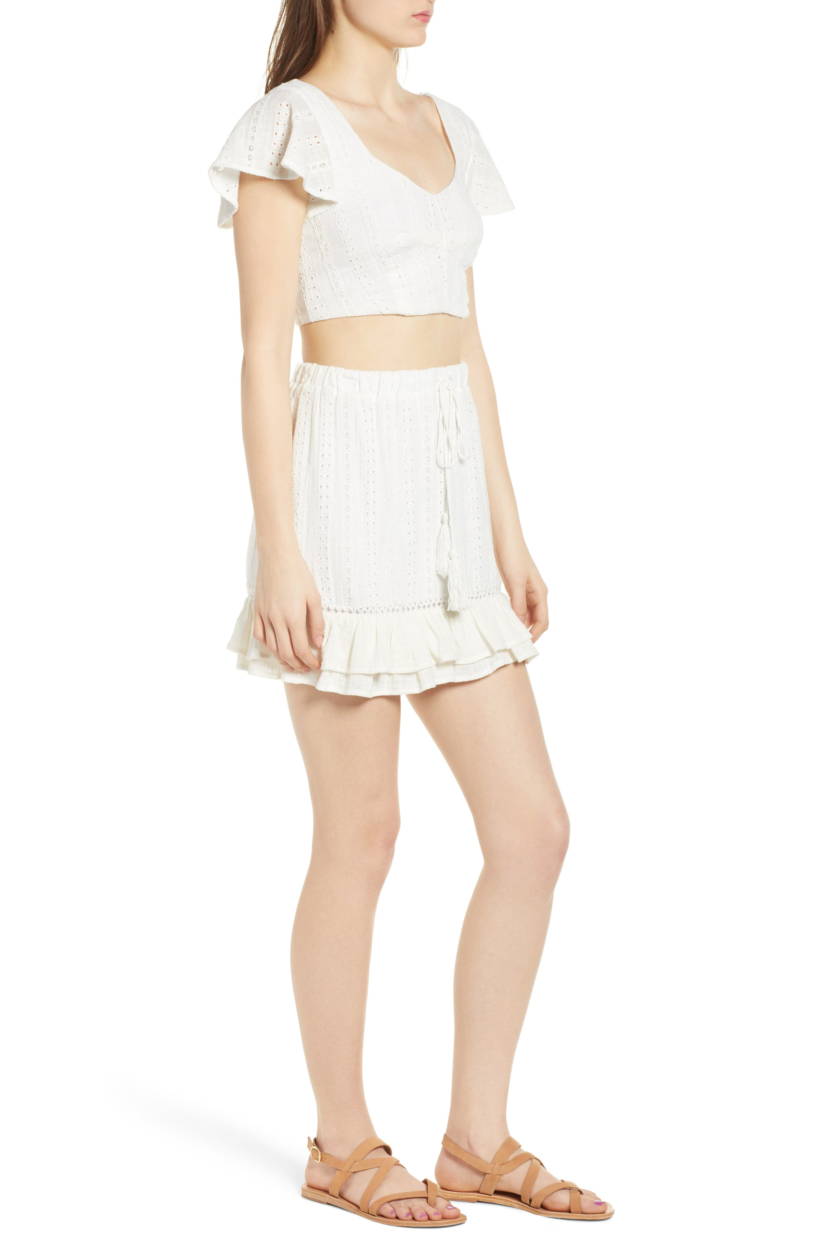 Daisy Ruffle Miniskirt,                             Alternate thumbnail 9, color,