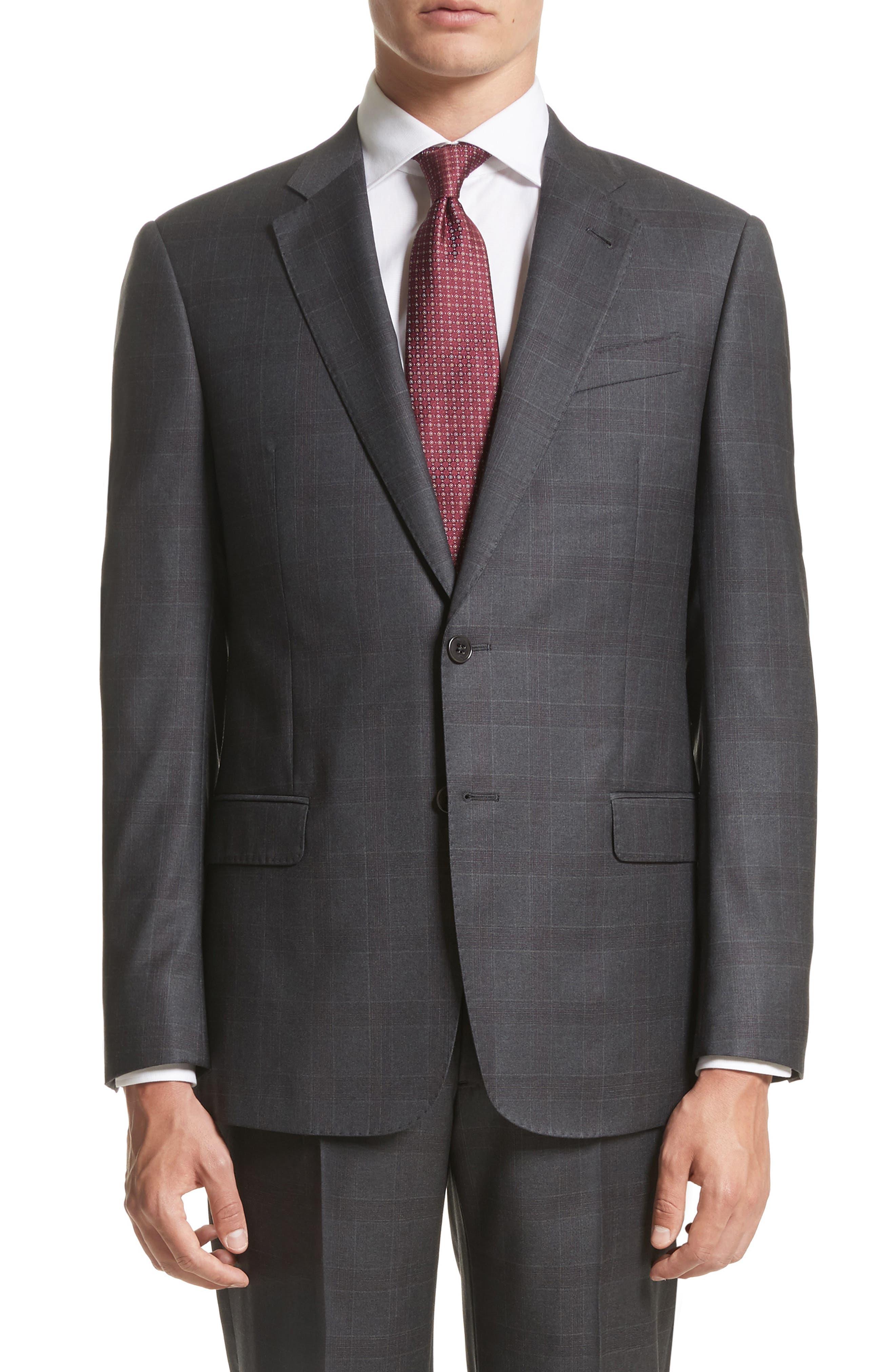 G-Line Trim Fit Plaid Wool Suit,                             Alternate thumbnail 5, color,                             038