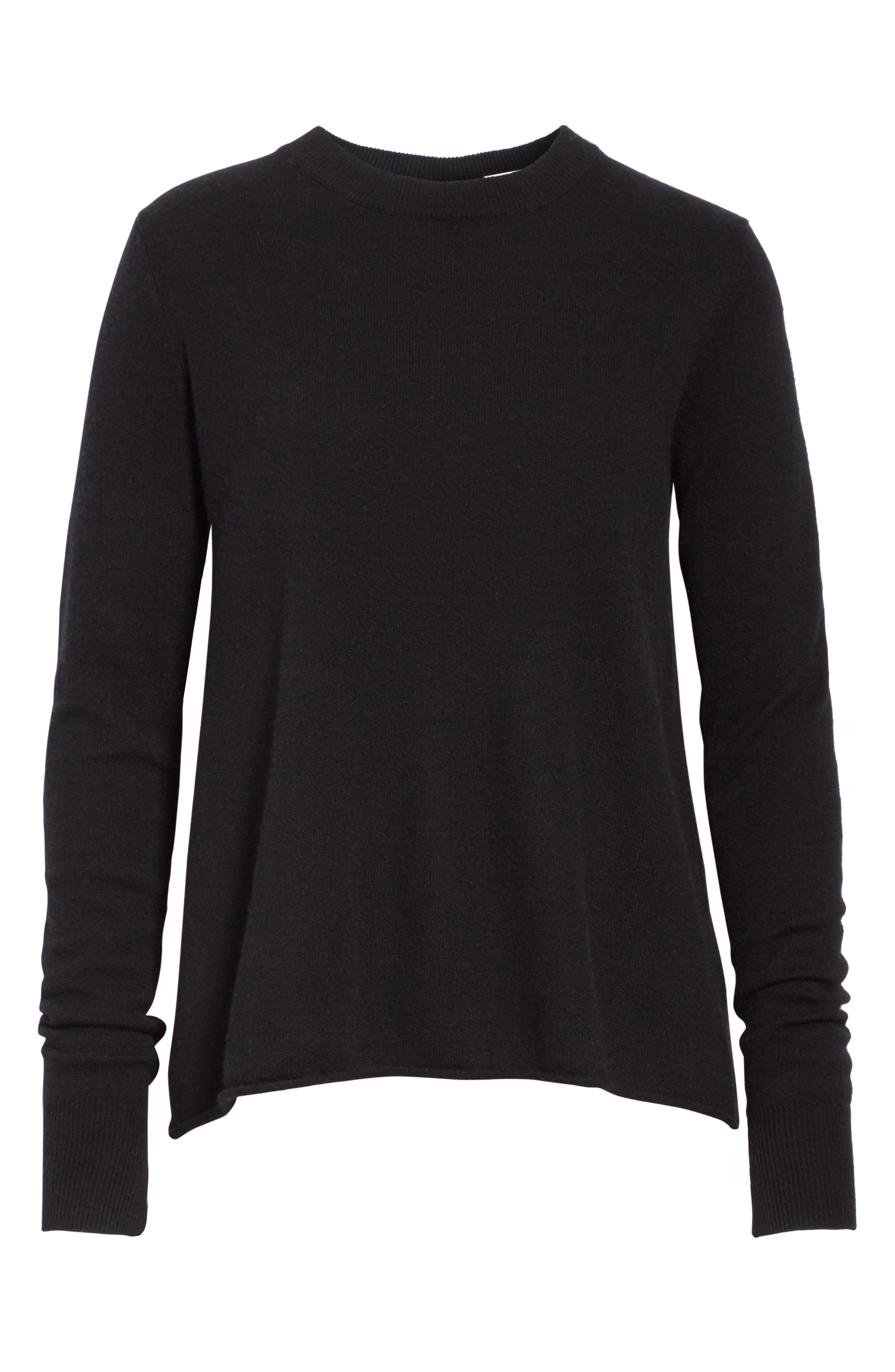 Valerie Lace-Up Wool & Cashmere Sweater,                             Alternate thumbnail 6, color,                             001