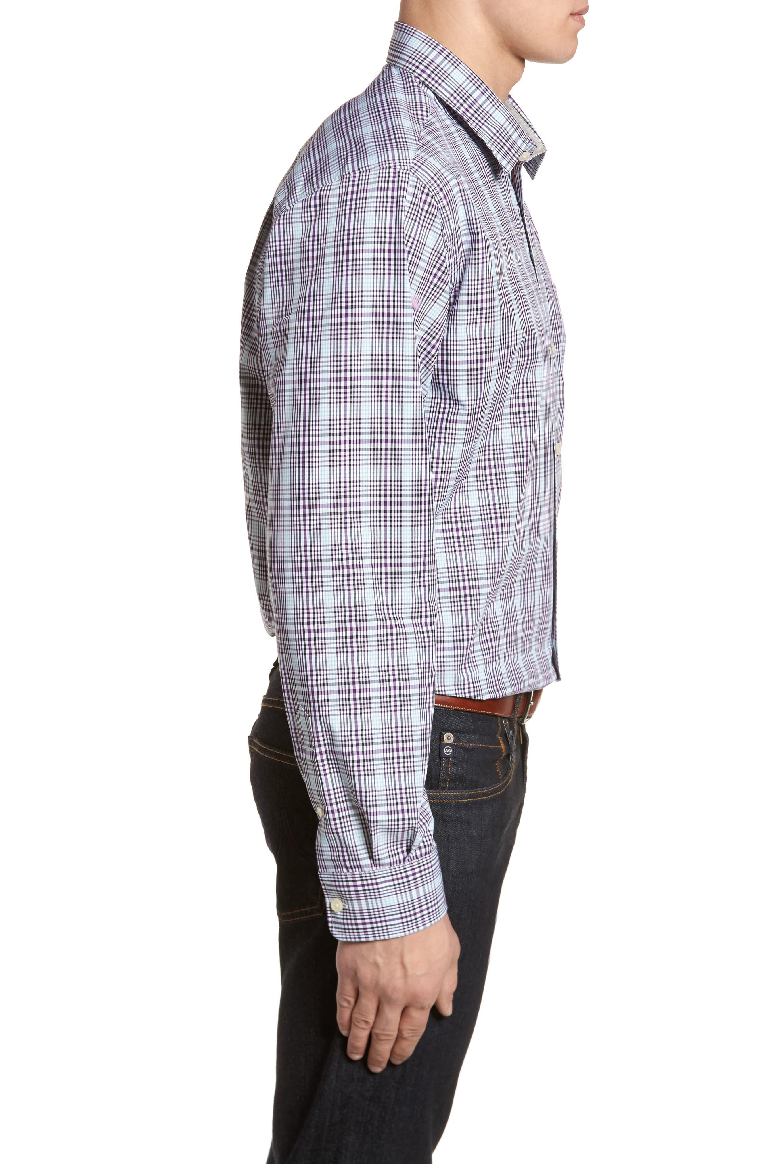 Hoyt Non-Iron Plaid Sport Shirt,                             Alternate thumbnail 3, color,                             522