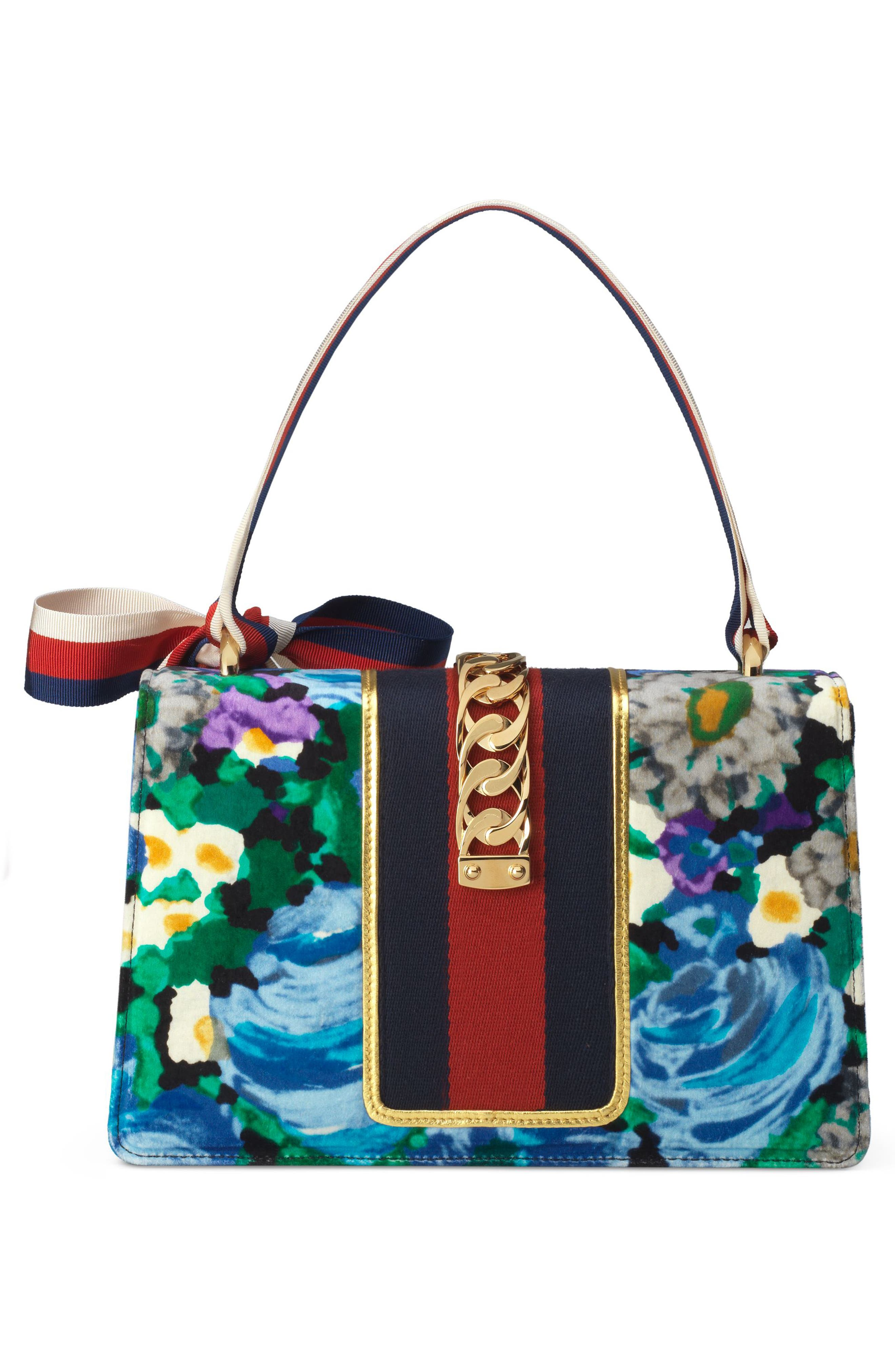 GUCCI,                             Small Floral Print Leather Shoulder Bag,                             Alternate thumbnail 3, color,                             001