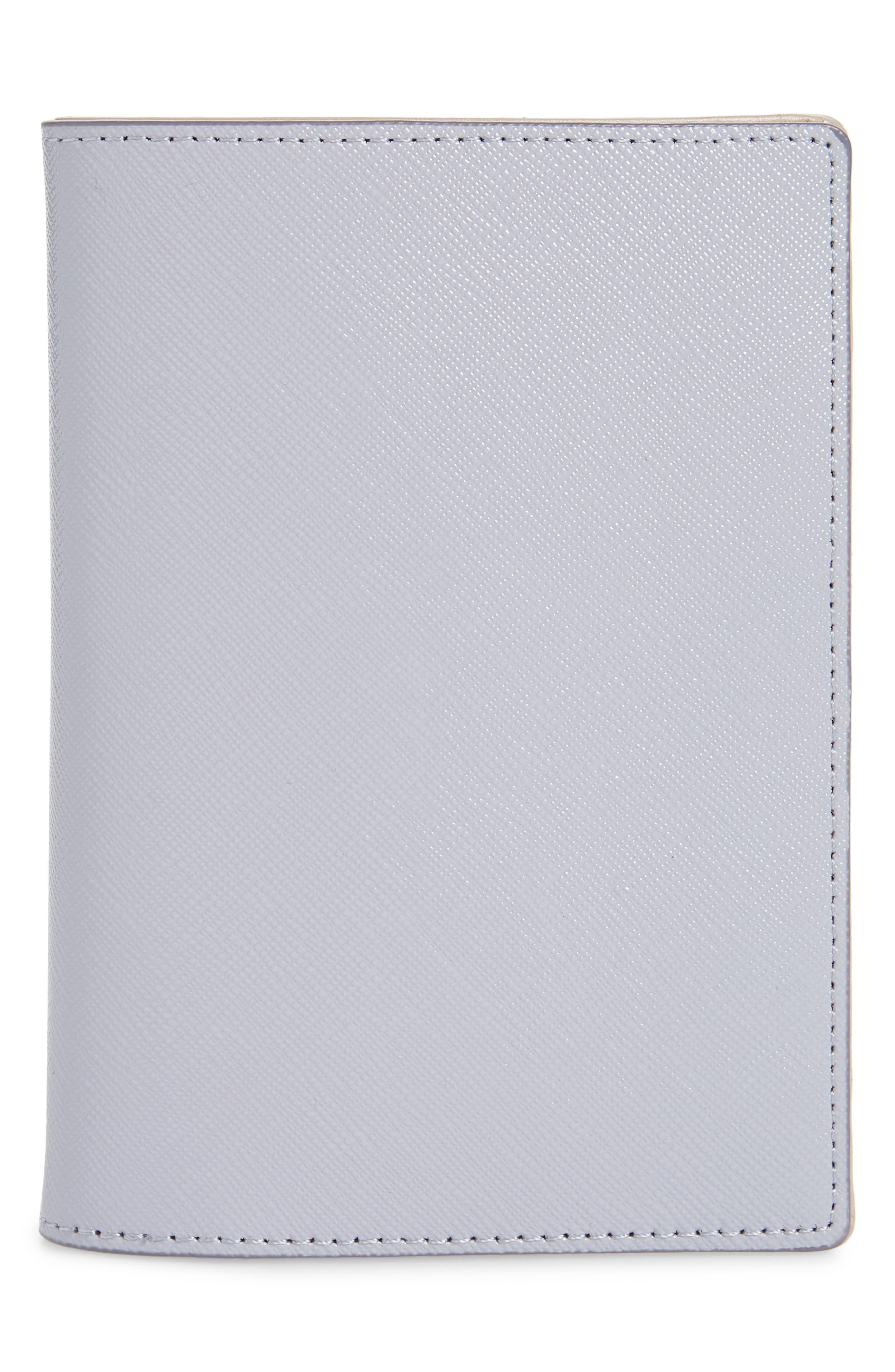 Saffiano Leather Passport Holder, Main, color, GREY LILAC