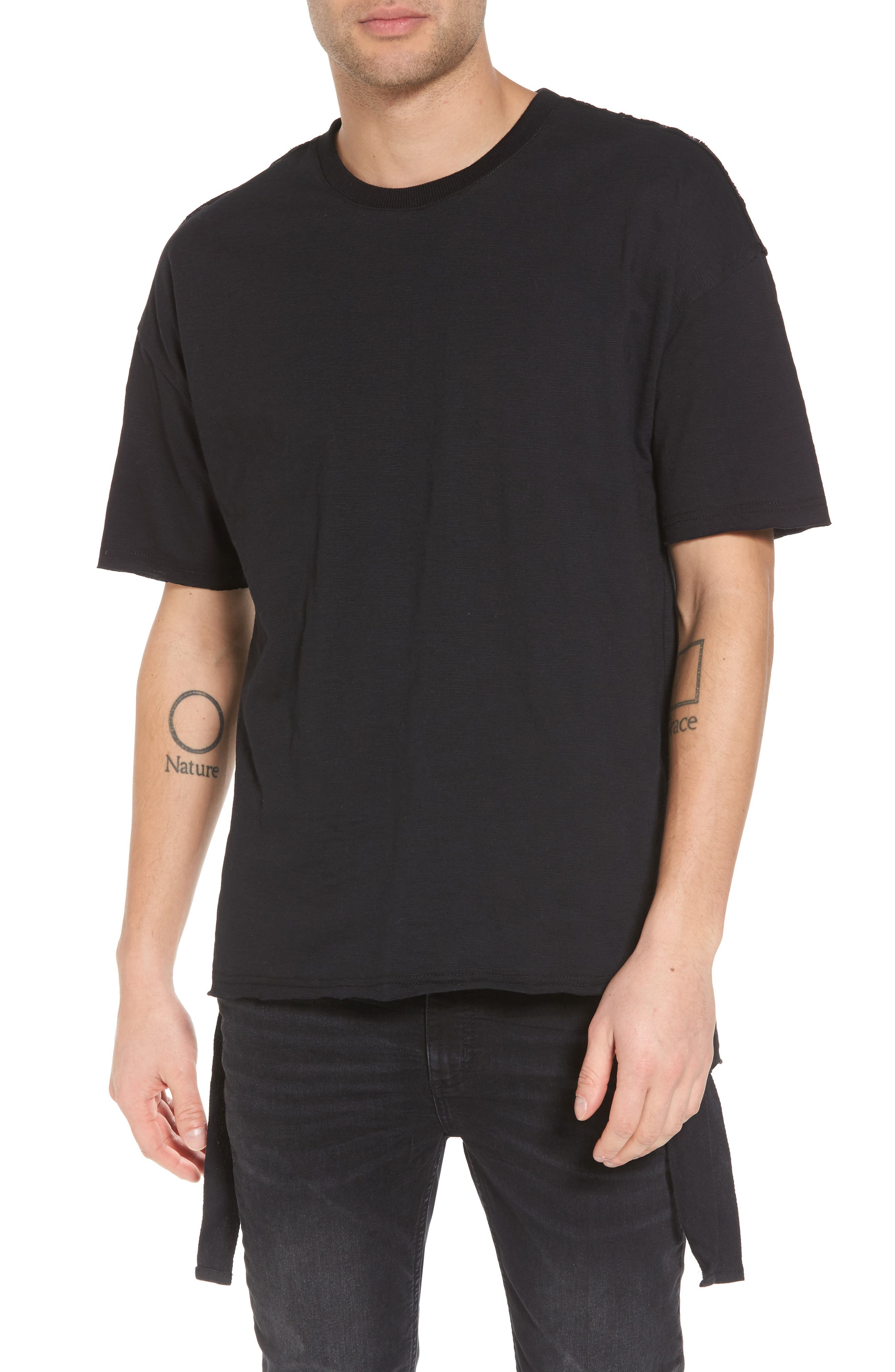 Raw Edge Strapped T-Shirt,                         Main,                         color, 001