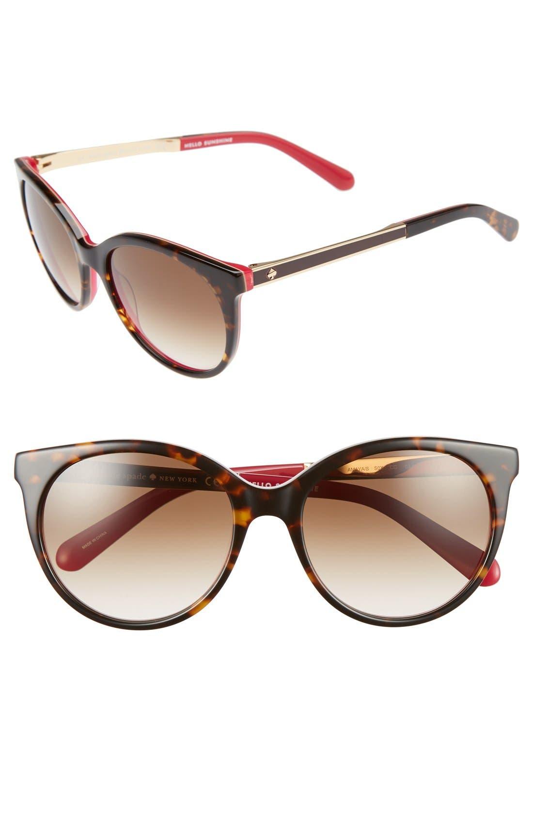 'amayas' 53mm cat eye sunglasses,                             Main thumbnail 1, color,                             HAVANA/ PINK