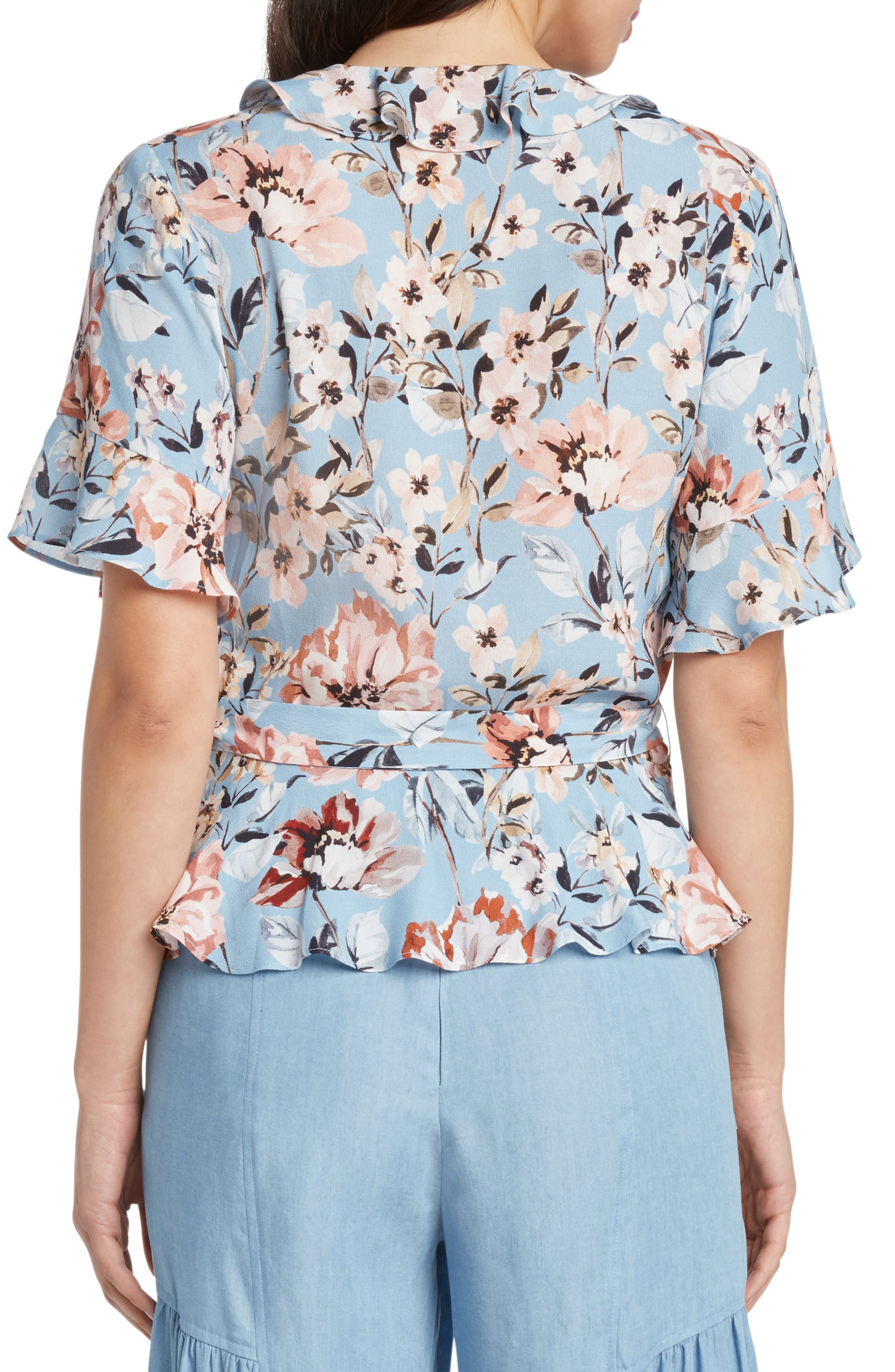 Print Floral Peplum Wrap Top,                             Alternate thumbnail 2, color,                             FRENCH BLUE