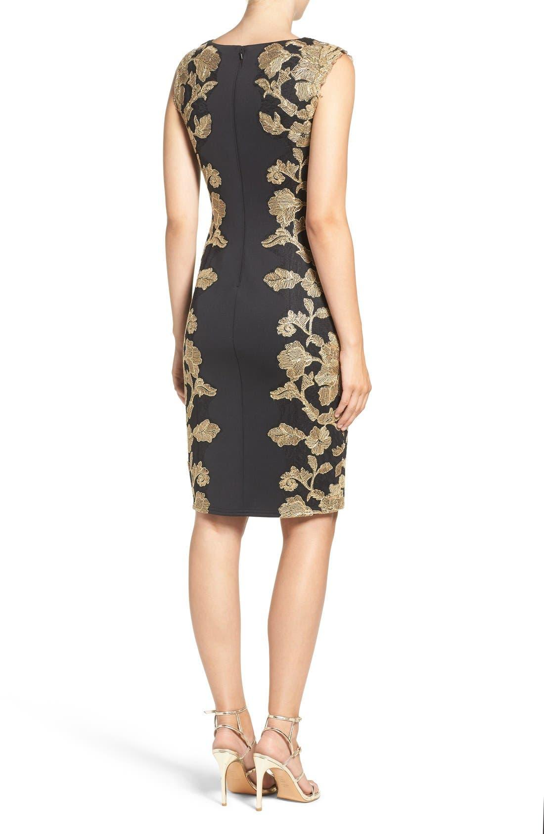 Embroidered Neoprene Sheath Dress,                             Alternate thumbnail 9, color,