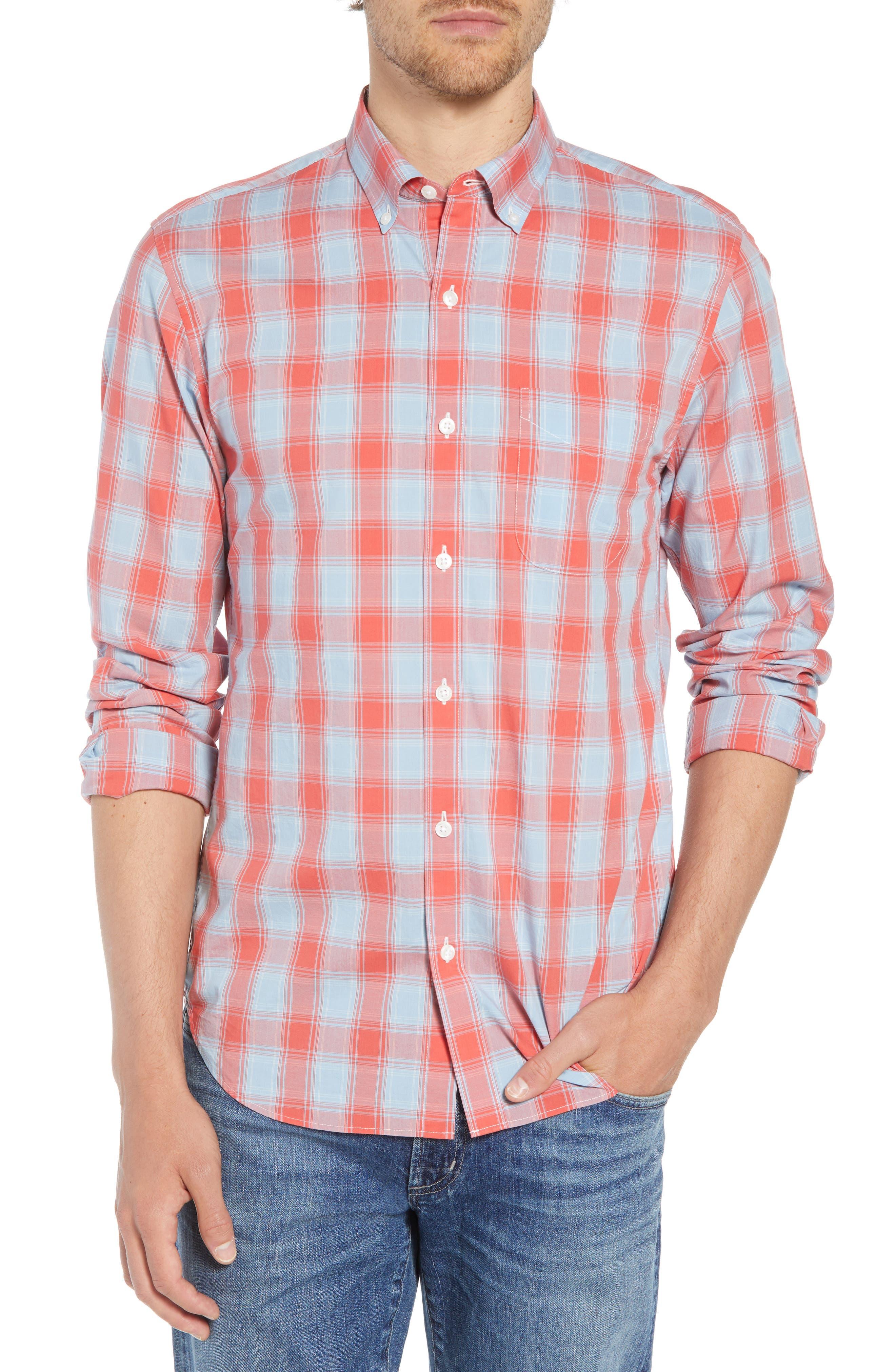 Summerweight Slim Fit Plaid Sport Shirt,                         Main,                         color, FOX LAIR - CORAL FAN