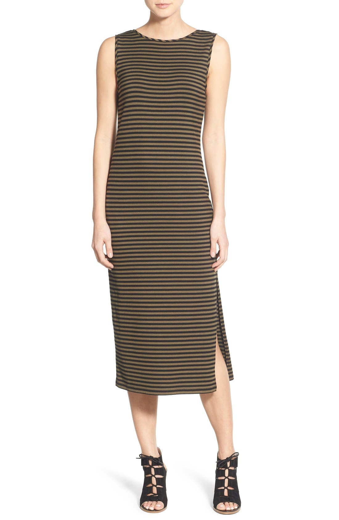 STEM,                             Stripe Scoop Back Midi Dress,                             Main thumbnail 1, color,                             300