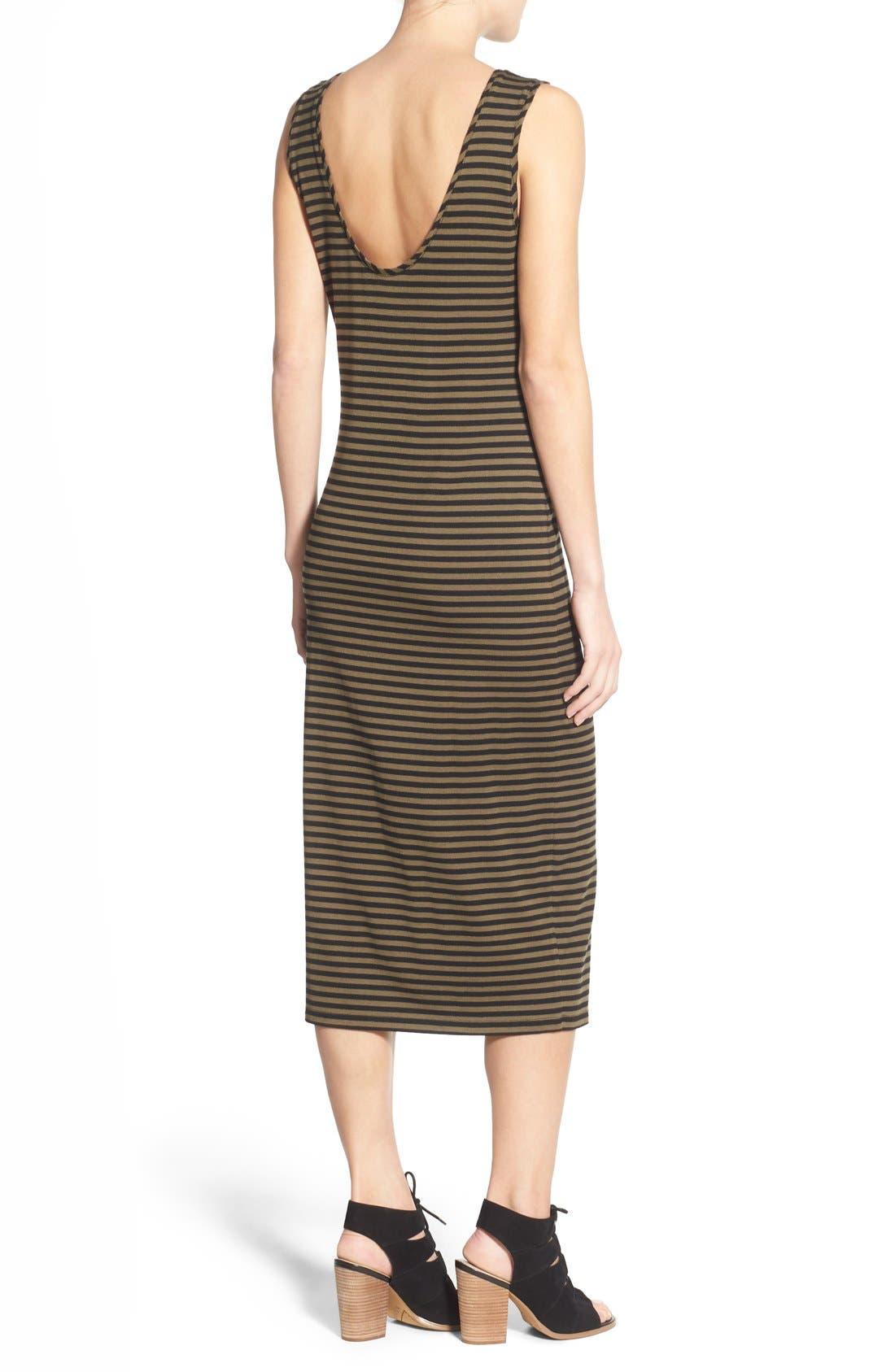 STEM,                             Stripe Scoop Back Midi Dress,                             Alternate thumbnail 5, color,                             300