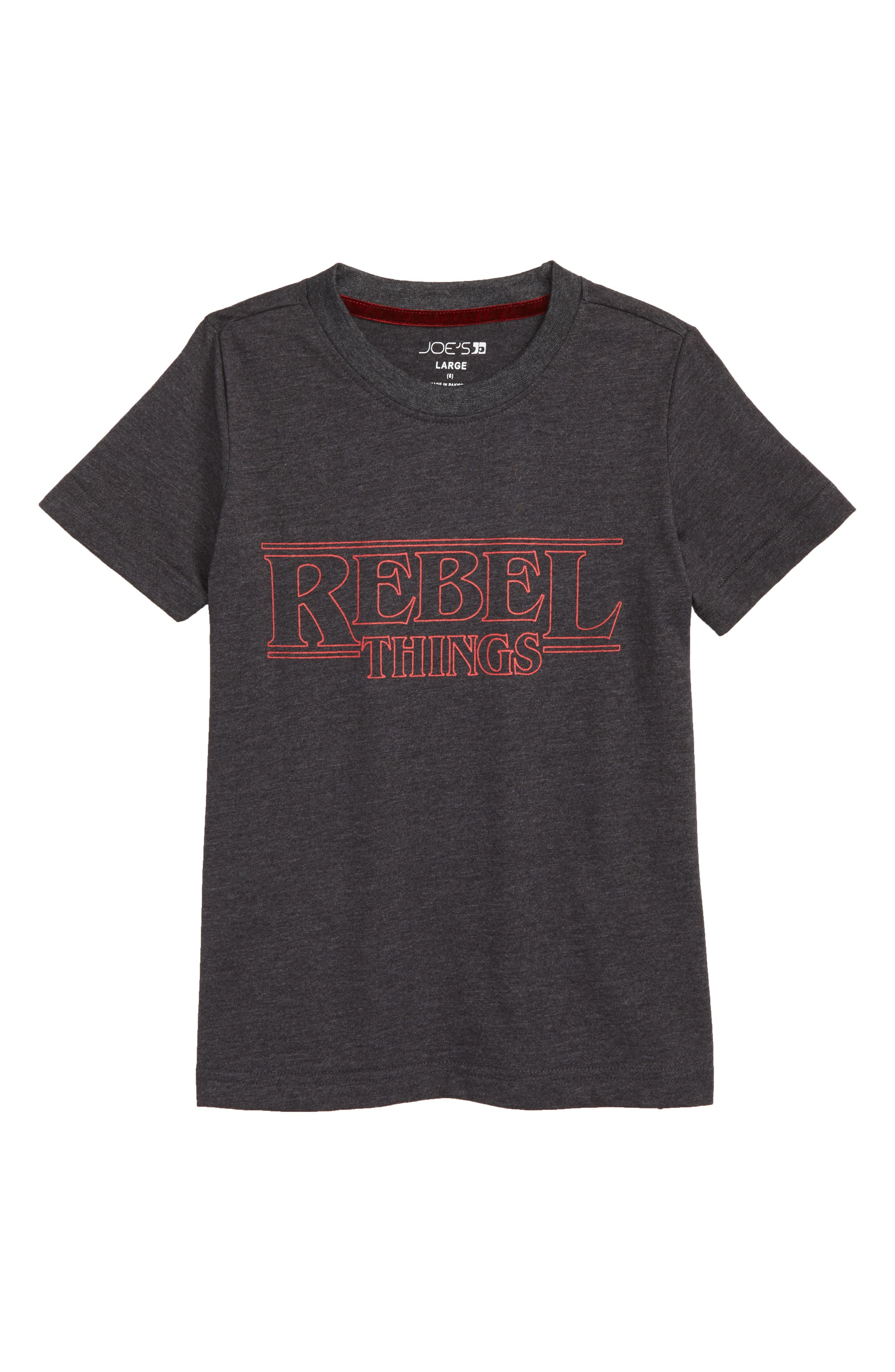 Rebel Things Graphic T-Shirt,                             Main thumbnail 1, color,                             CHARCOAL HEATHER